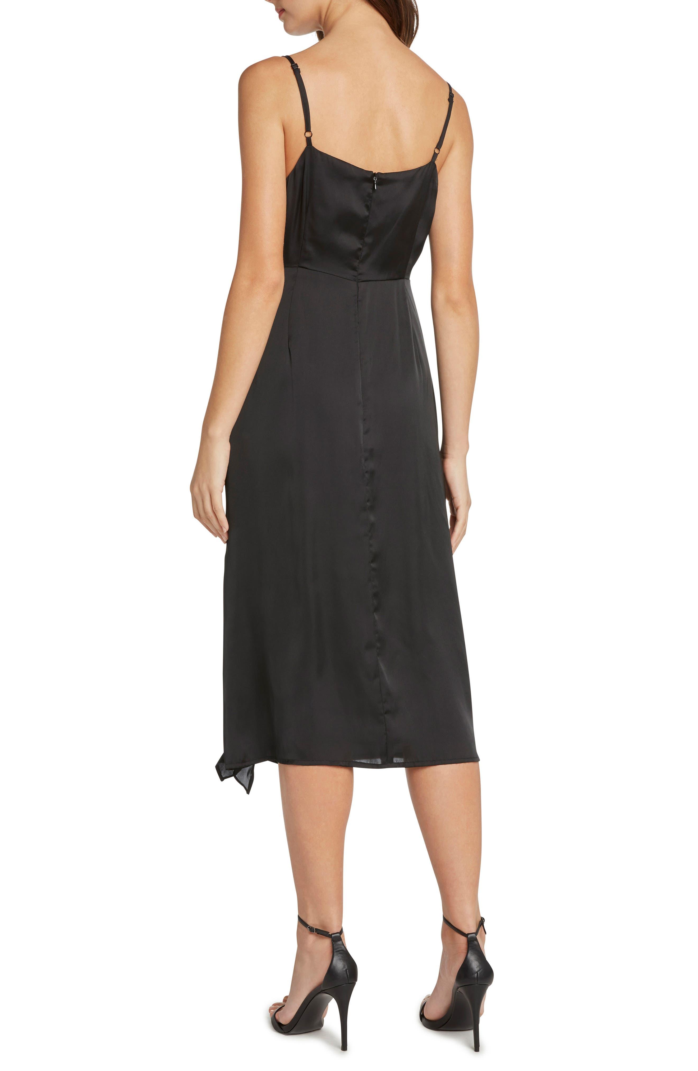 Ruched Satin Midi Dress,                             Alternate thumbnail 2, color,                             001