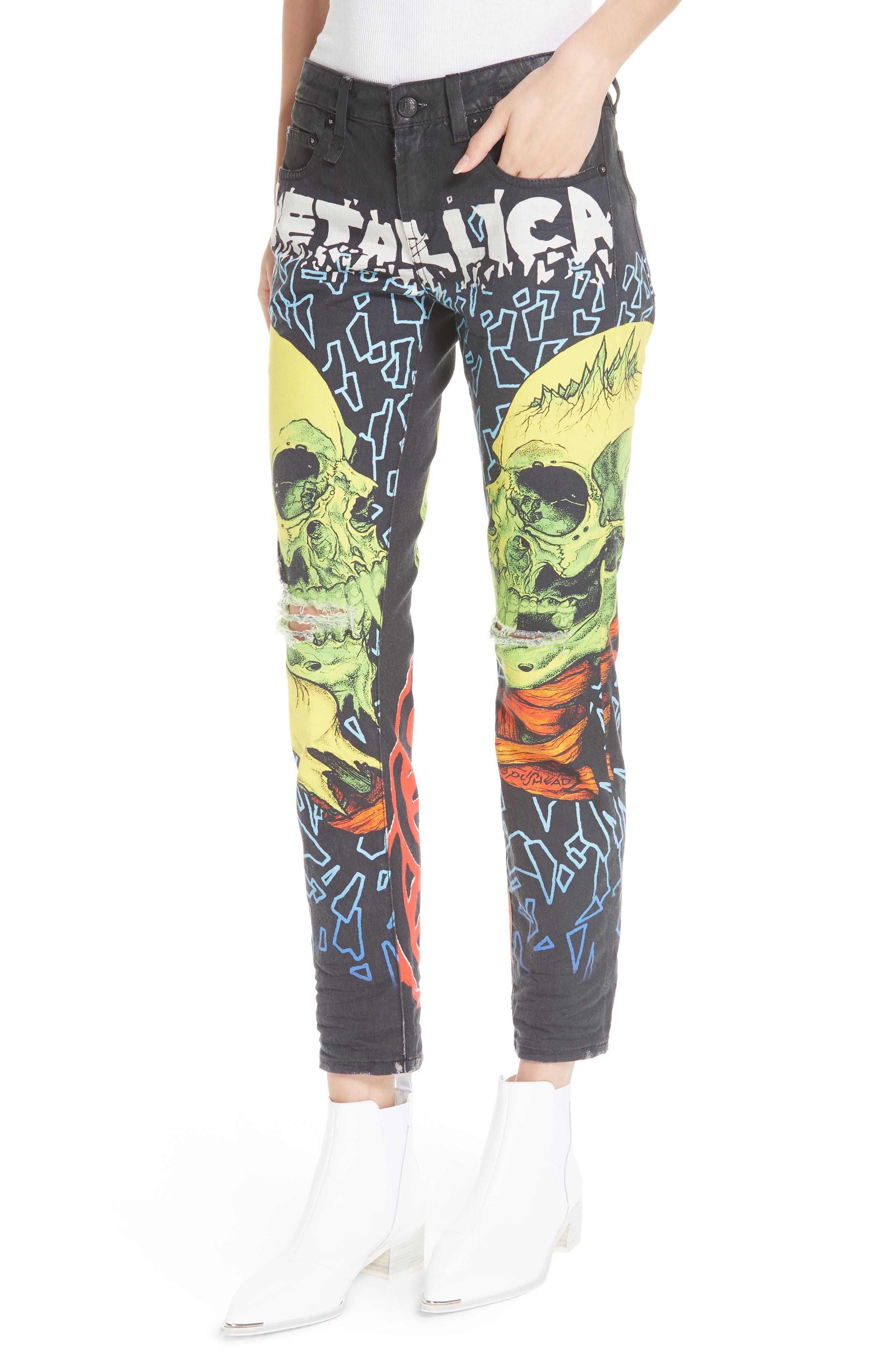 R13,                             Kate Print Skinny Jeans,                             Alternate thumbnail 4, color,                             001
