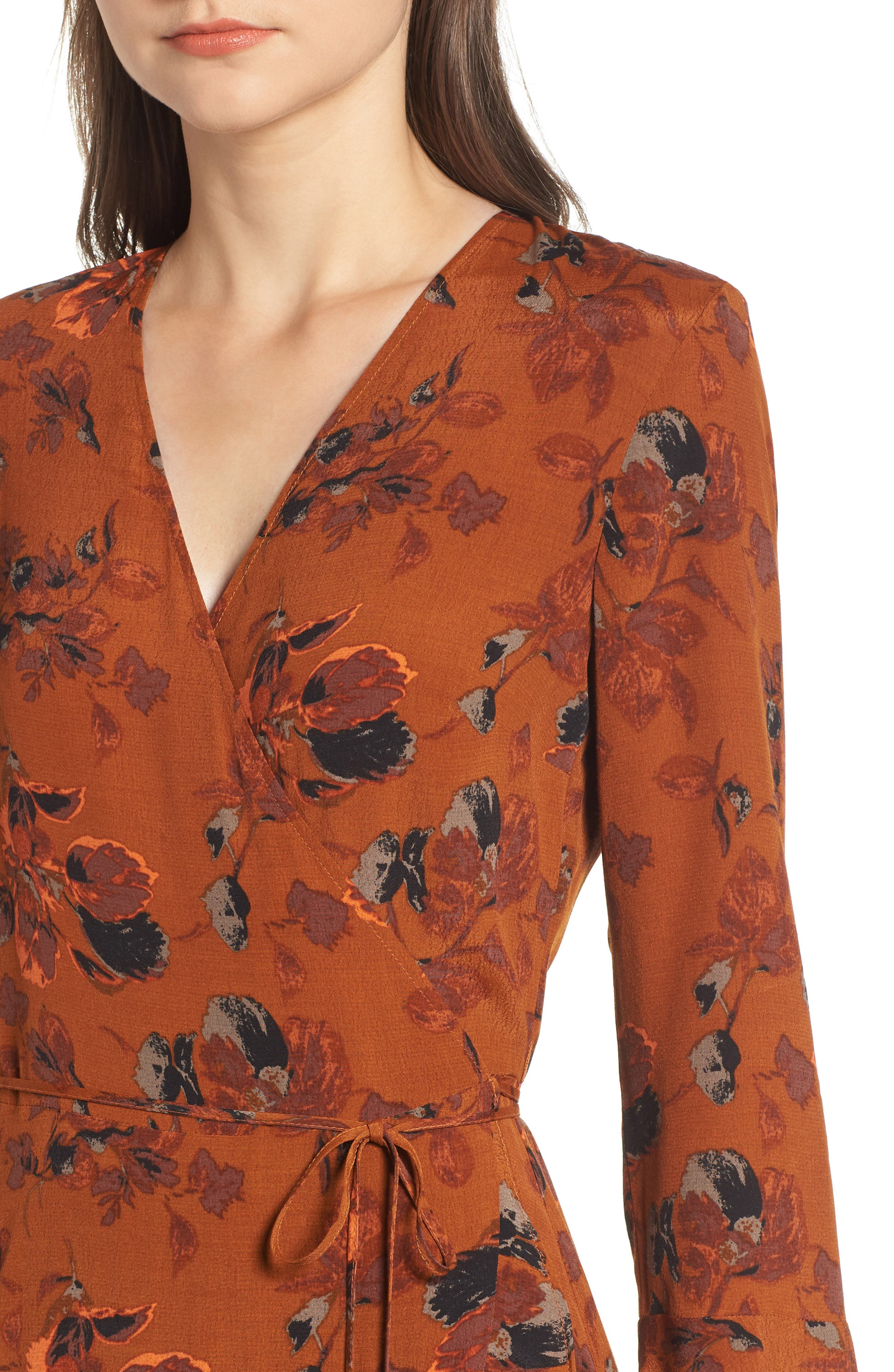Bell Sleeve Wrap Midi Dress,                             Alternate thumbnail 4, color,                             RUST CARMEL FALL FOLIAGE