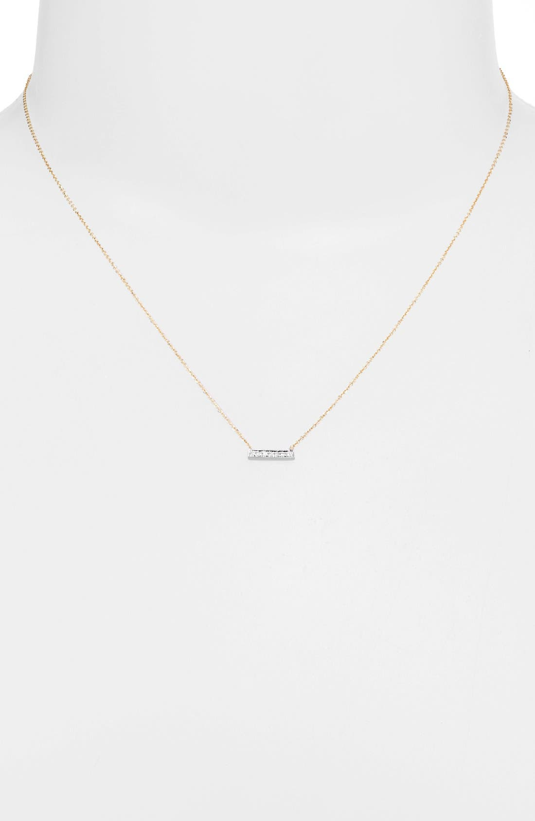 'Sylvie Rose' Diamond Bar Pendant Necklace,                             Alternate thumbnail 8, color,                             YELLOW GOLD