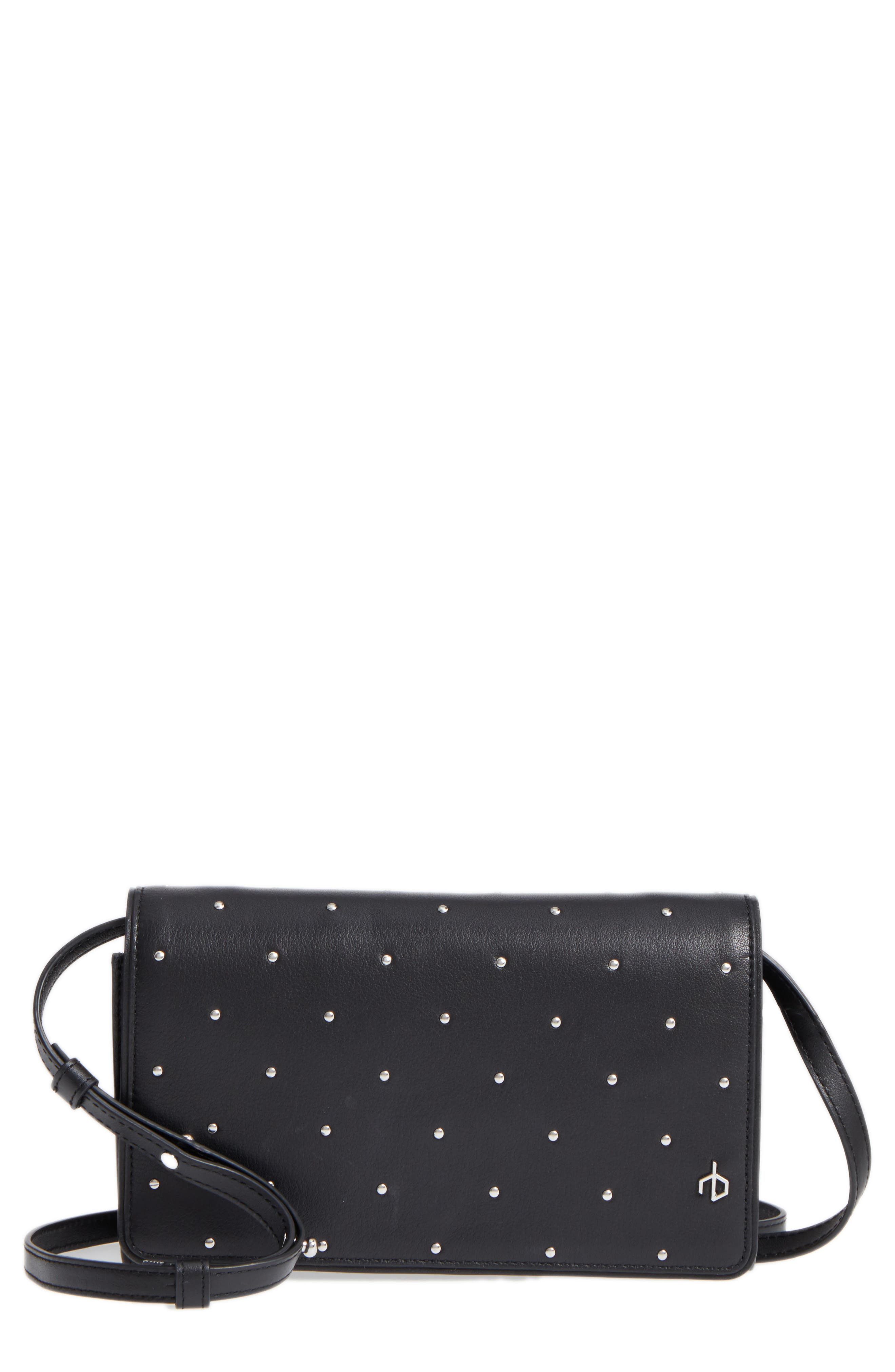 Studded Leather Crossbody Wallet,                         Main,                         color, 001
