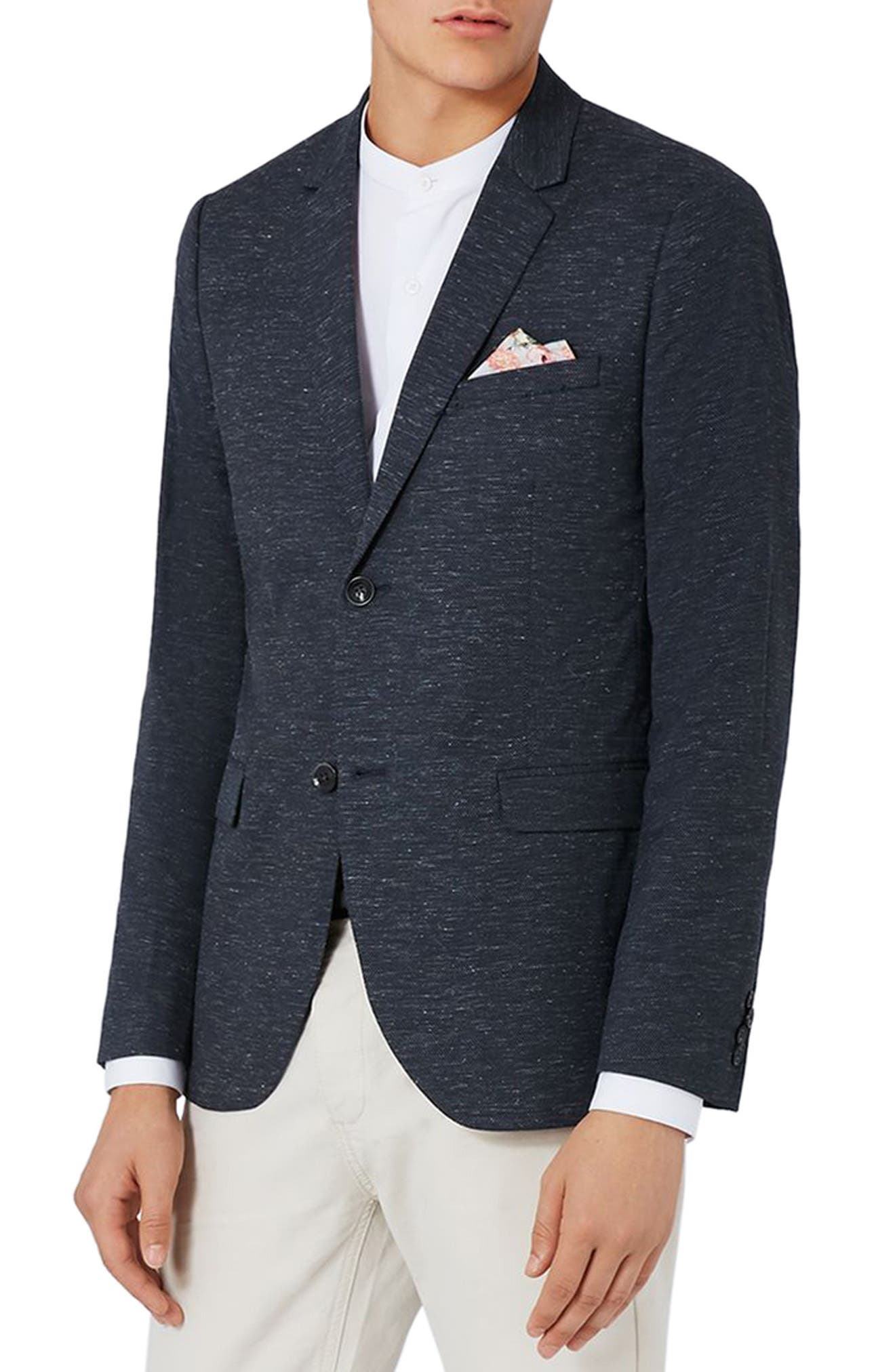 TOPMAN Romeo Skinny Fit Flecked Blazer, Main, color, 420