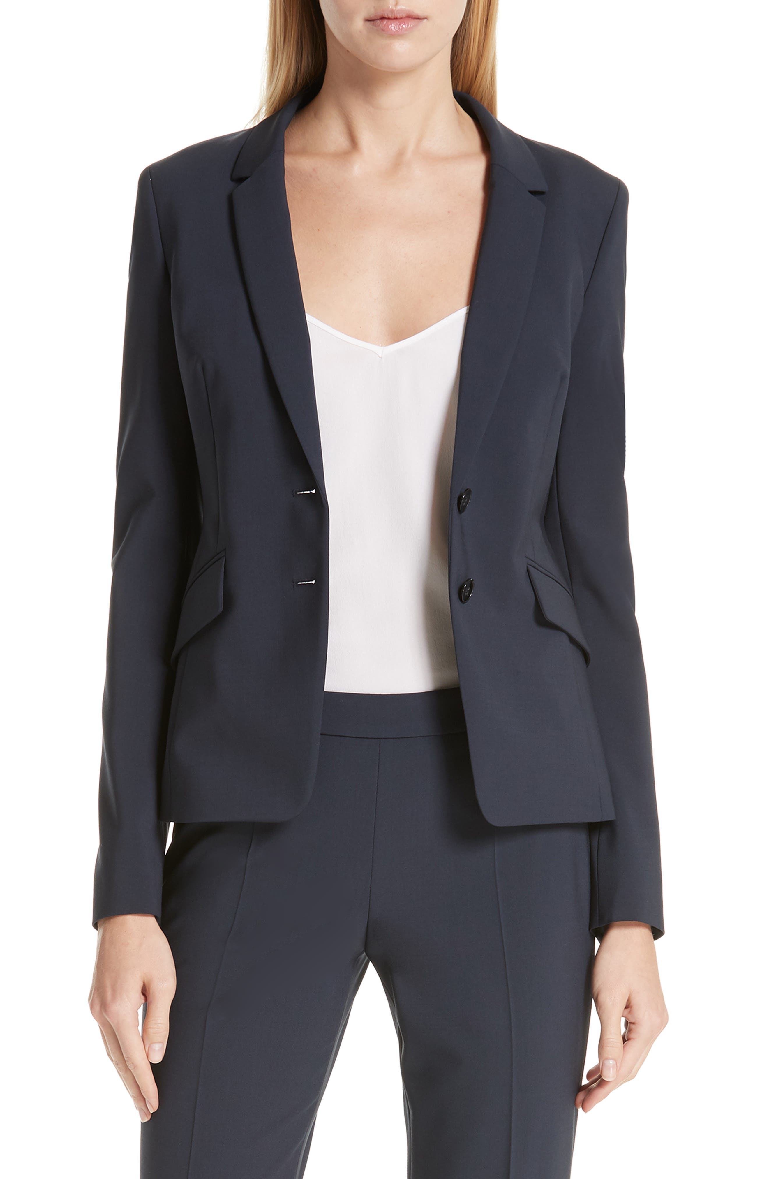 BOSS,                             Jiletara Stretch Wool Jacket,                             Main thumbnail 1, color,                             NAVY