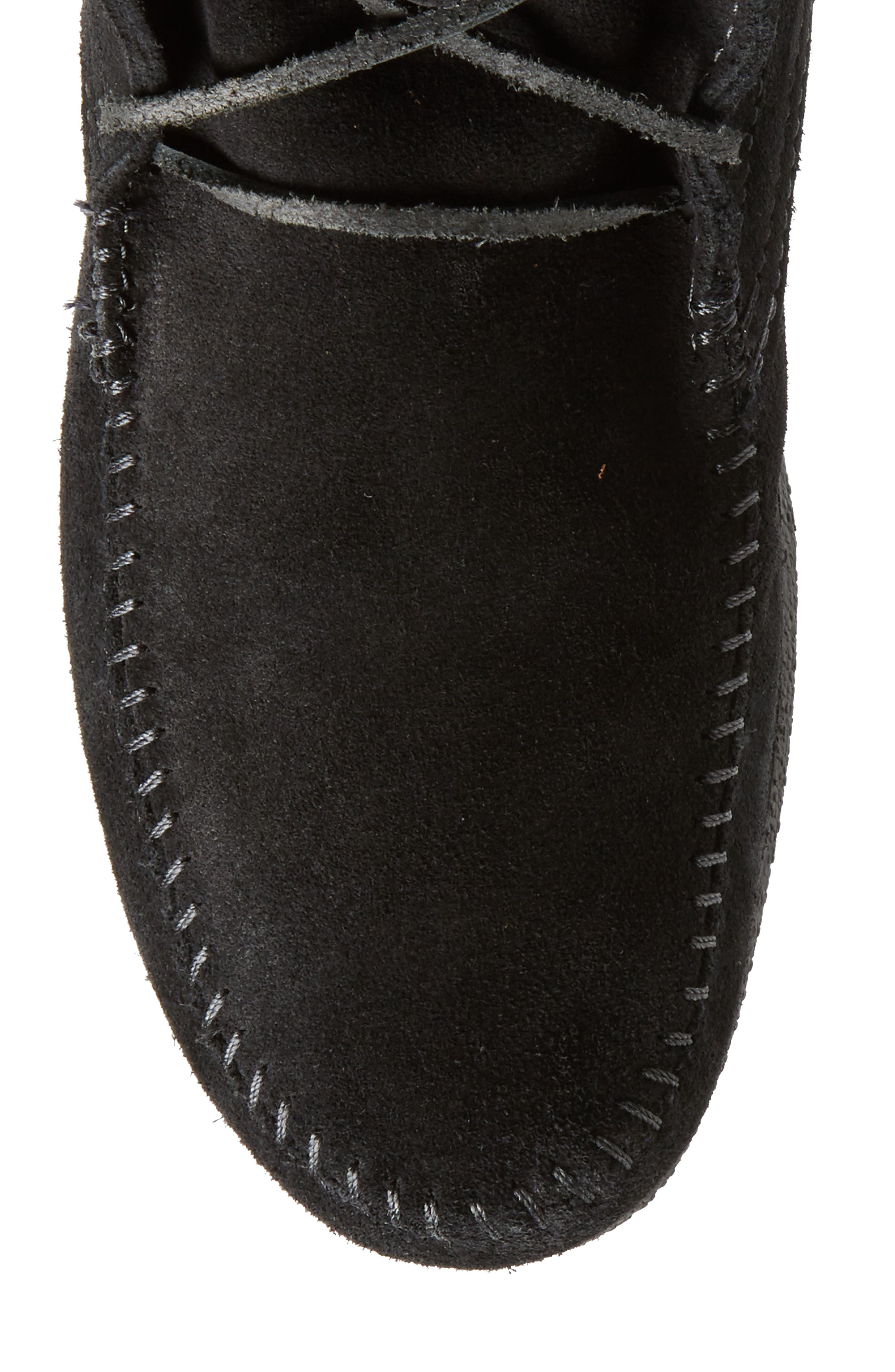 Knee High Moccasin Boot,                             Alternate thumbnail 5, color,                             BLACK SUEDE