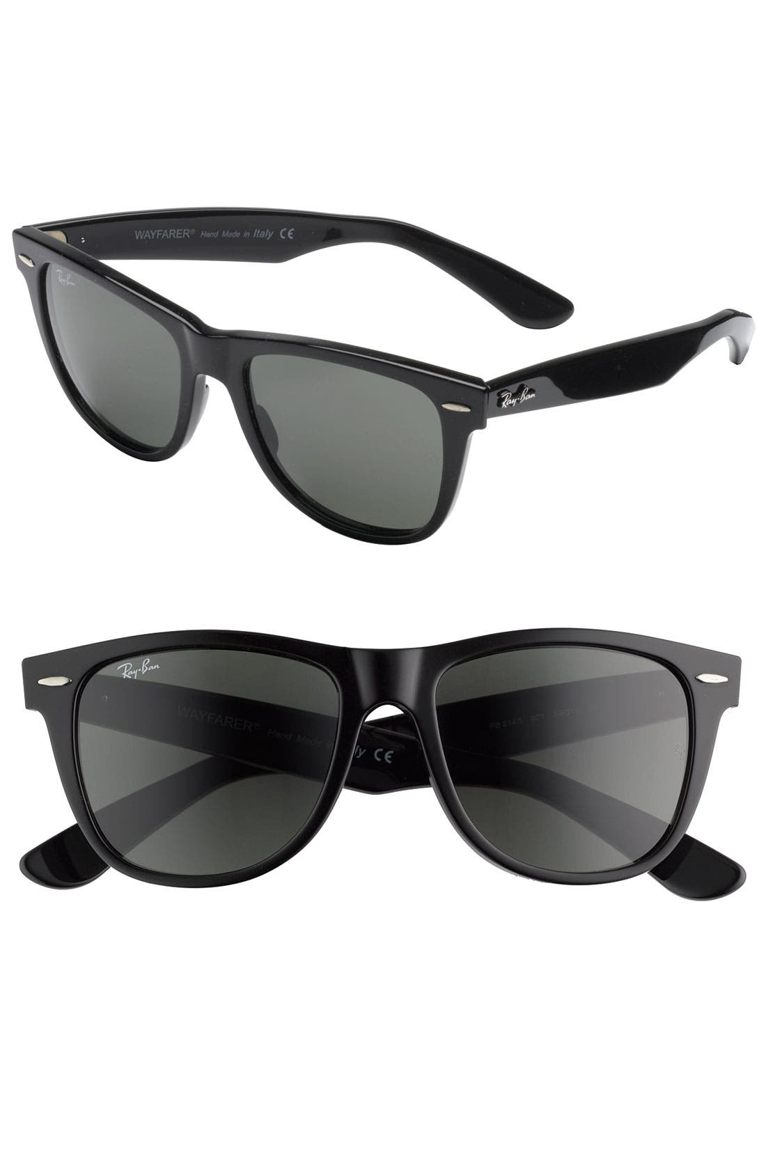 'Classic Wayfarer' 50mm Polarized Sunglasses,                         Main,                         color, BLACK/ GREEN P