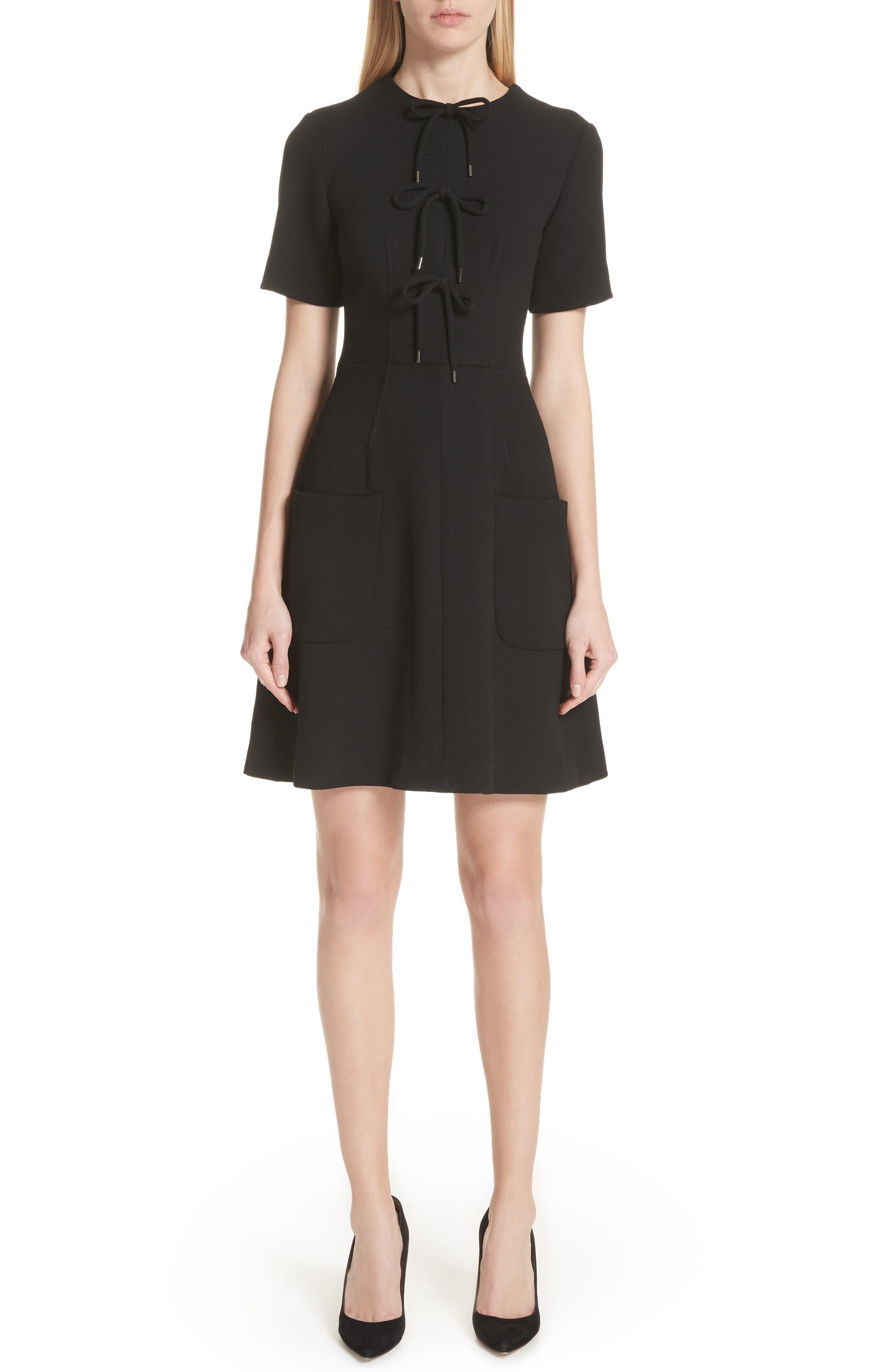 Lela Rose Tie Front A-Line Dress, Black