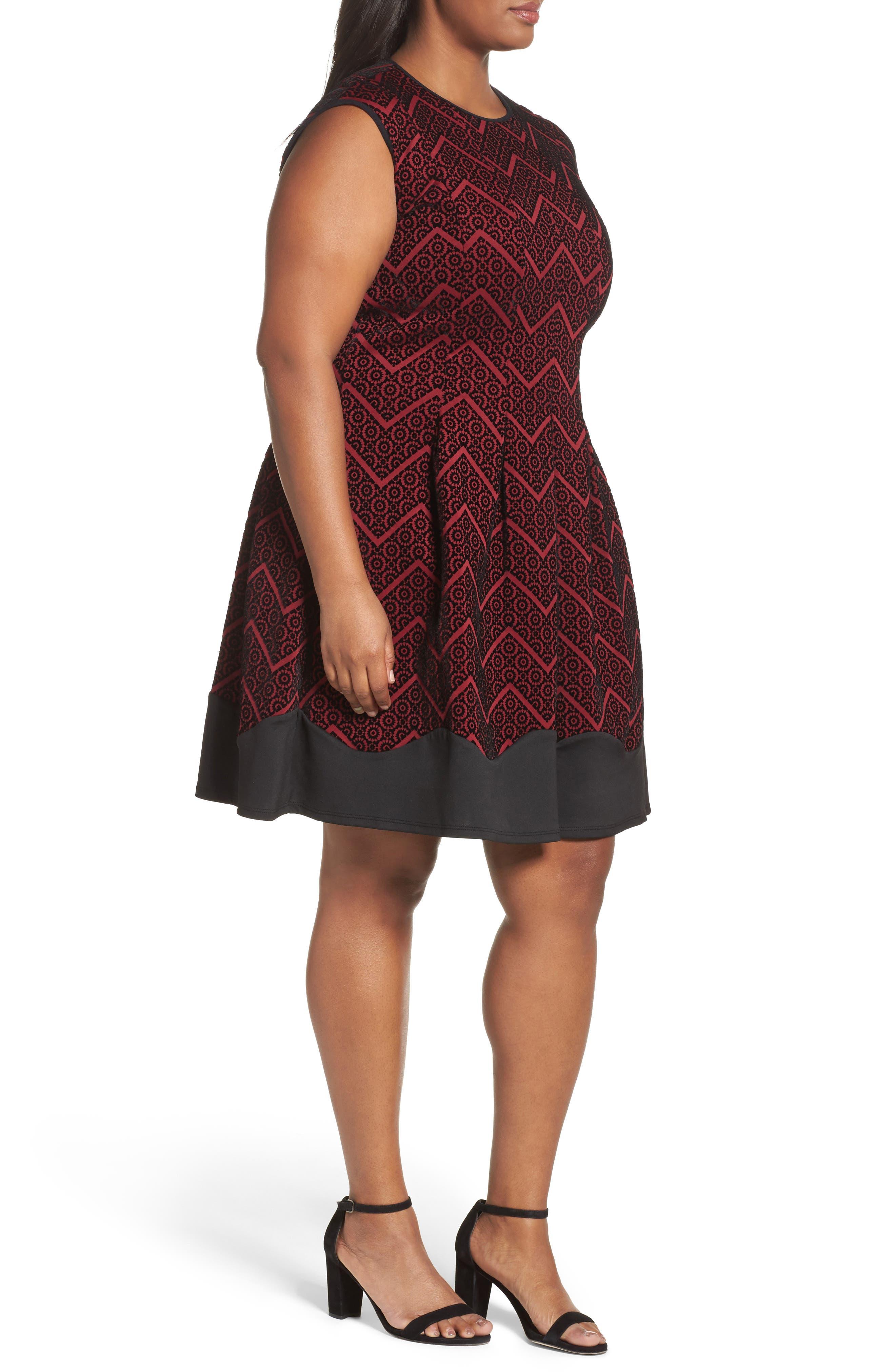 Flocked Fit & Flare Dress,                             Alternate thumbnail 3, color,                             602