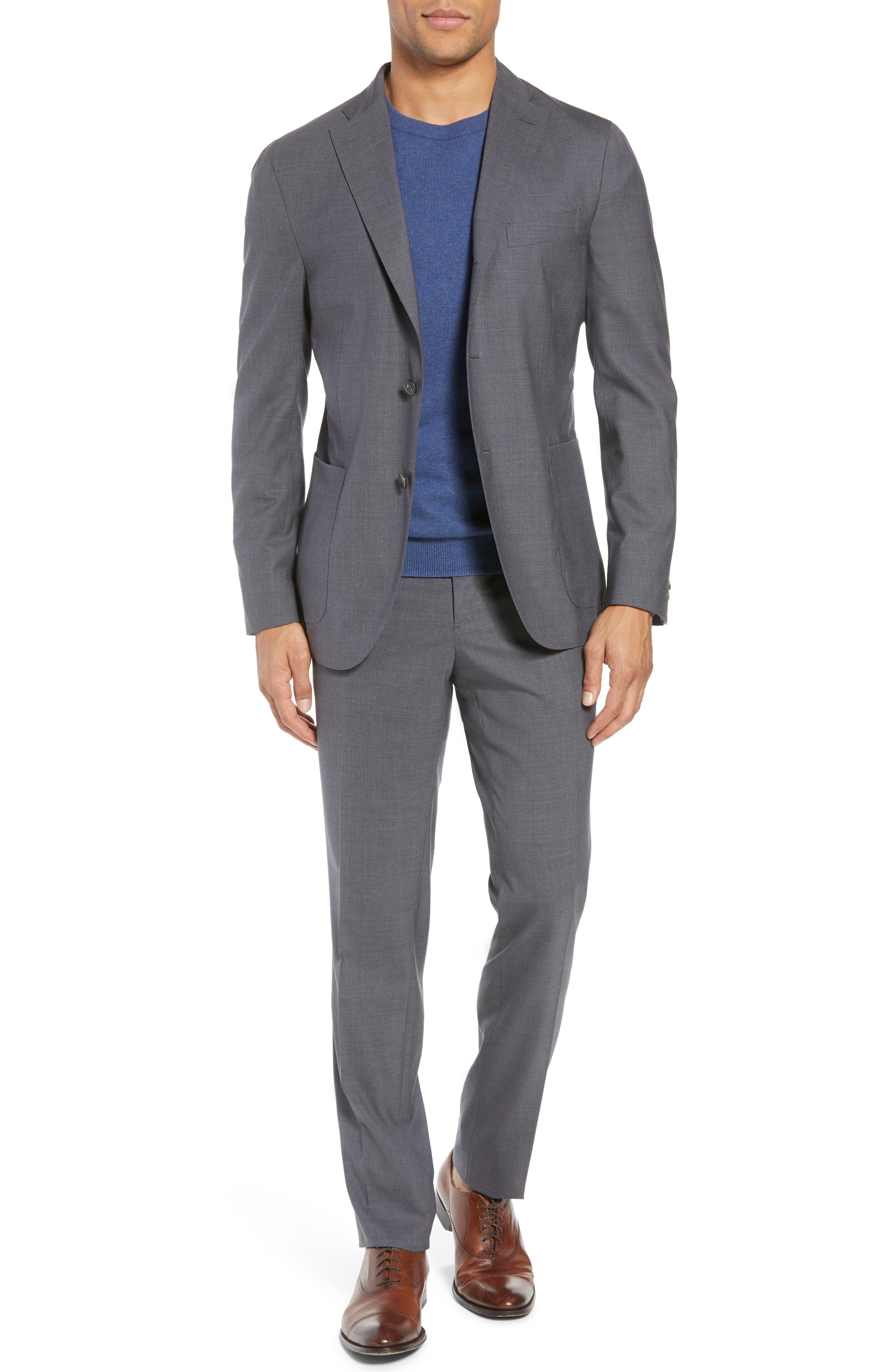 Trim Fit Solid Wool Suit,                             Main thumbnail 1, color,                             MEDIUM GREY