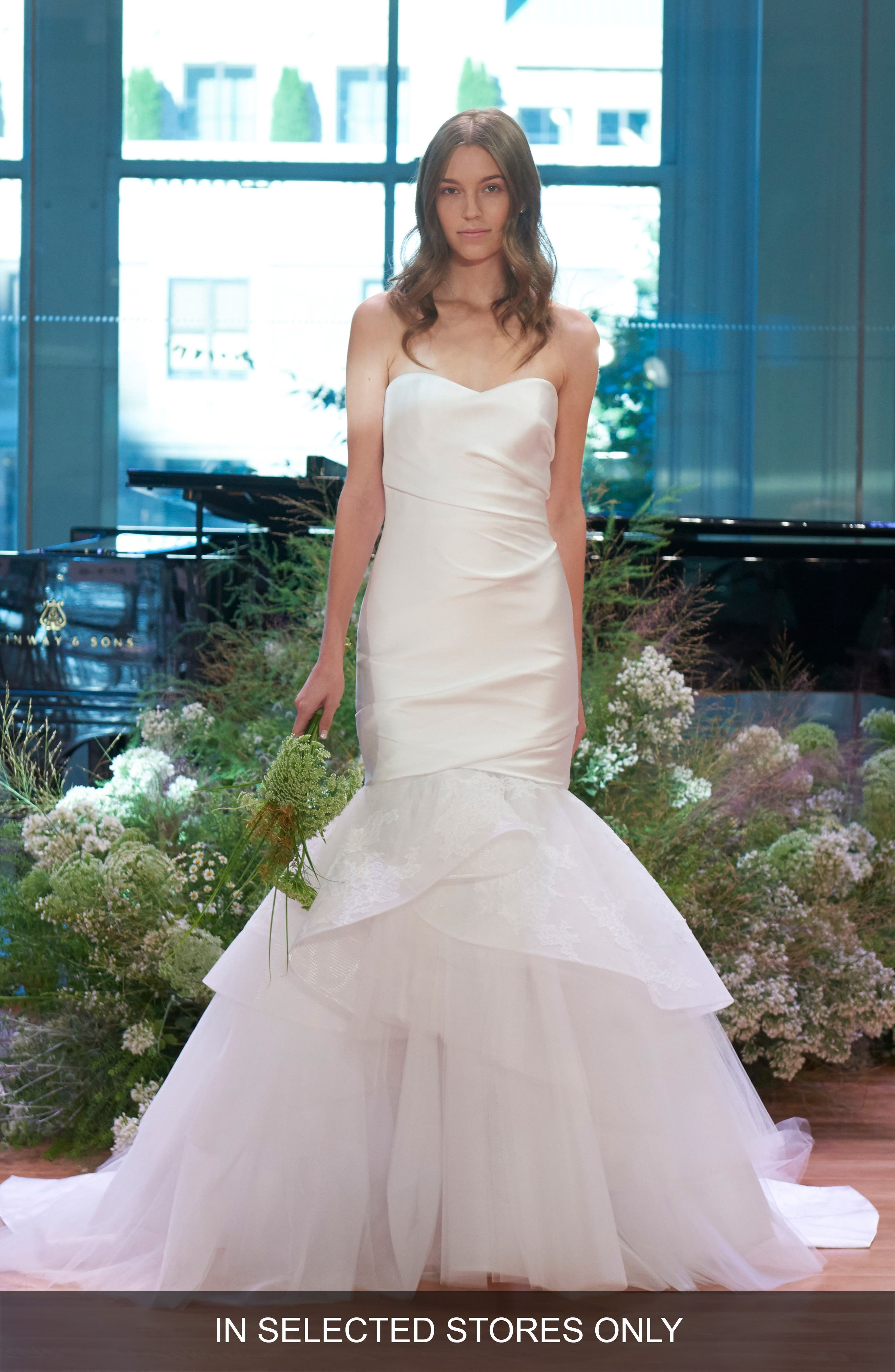 Strapless Ruched Satin & Tulle Mermaid Gown,                             Main thumbnail 1, color,                             100