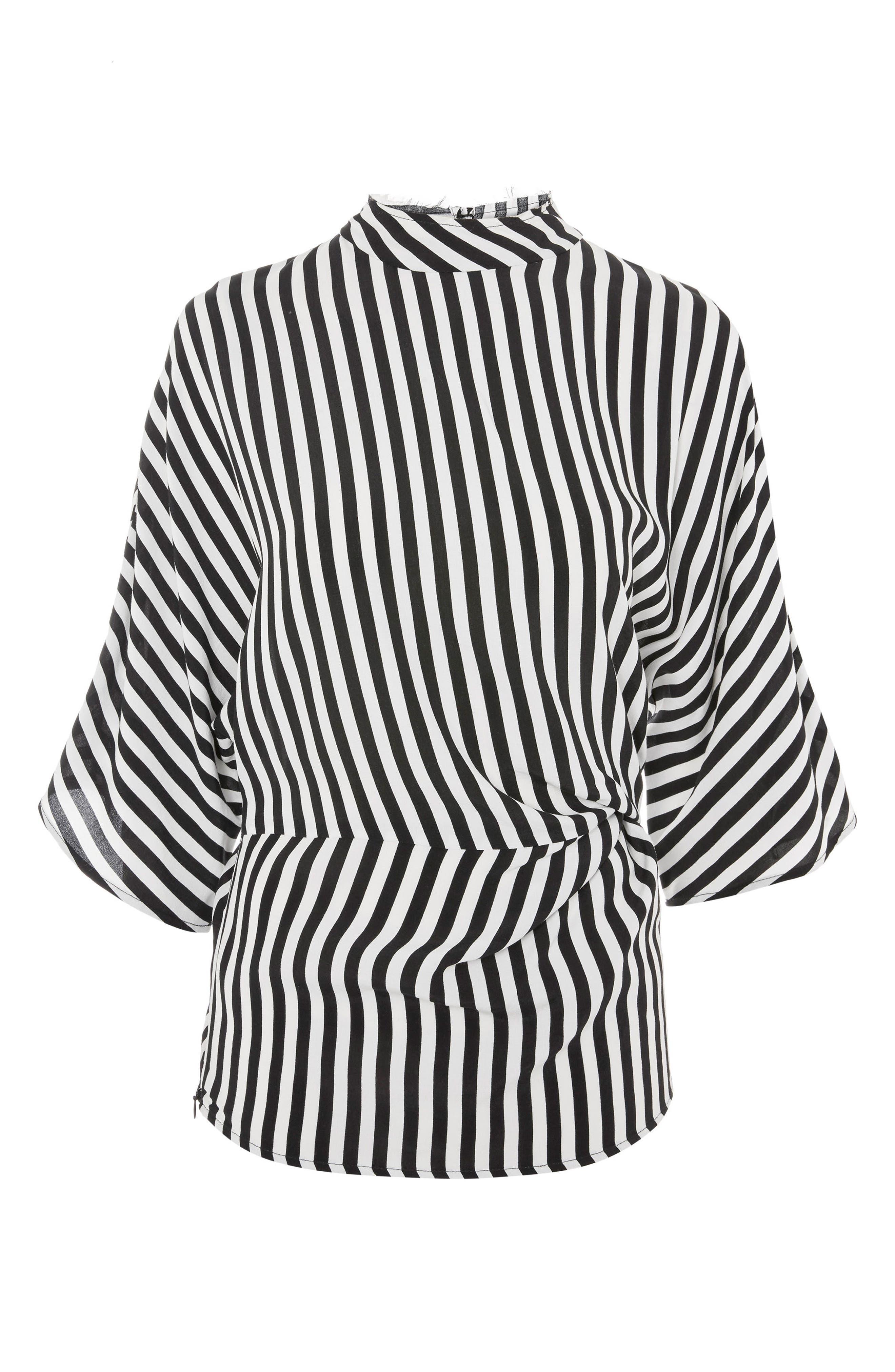 Stripe Tuck Detail Top,                             Alternate thumbnail 4, color,                             001