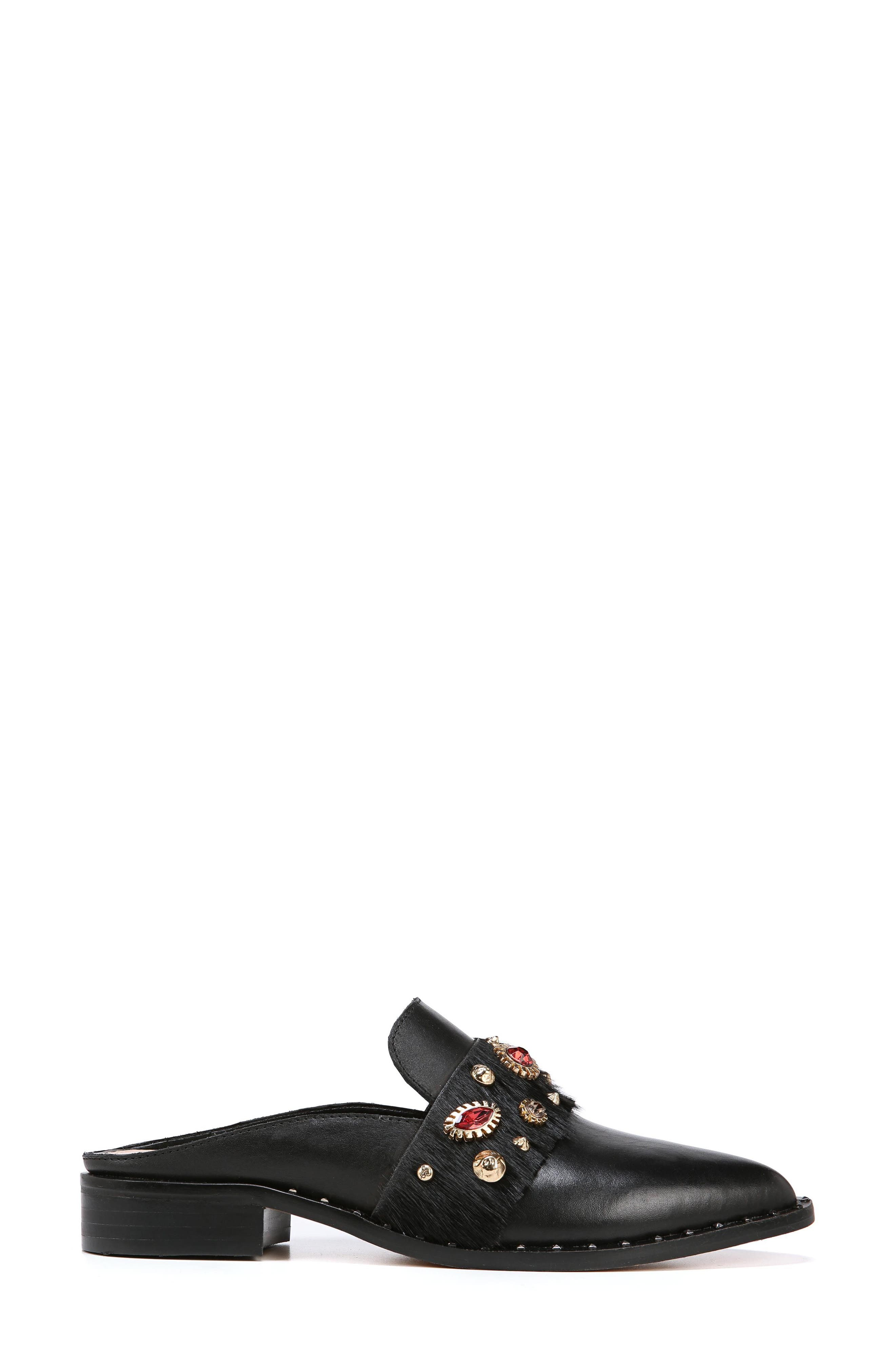Laird Genuine Calf Hair Trim Loafer Mule,                             Alternate thumbnail 3, color,                             BLACK
