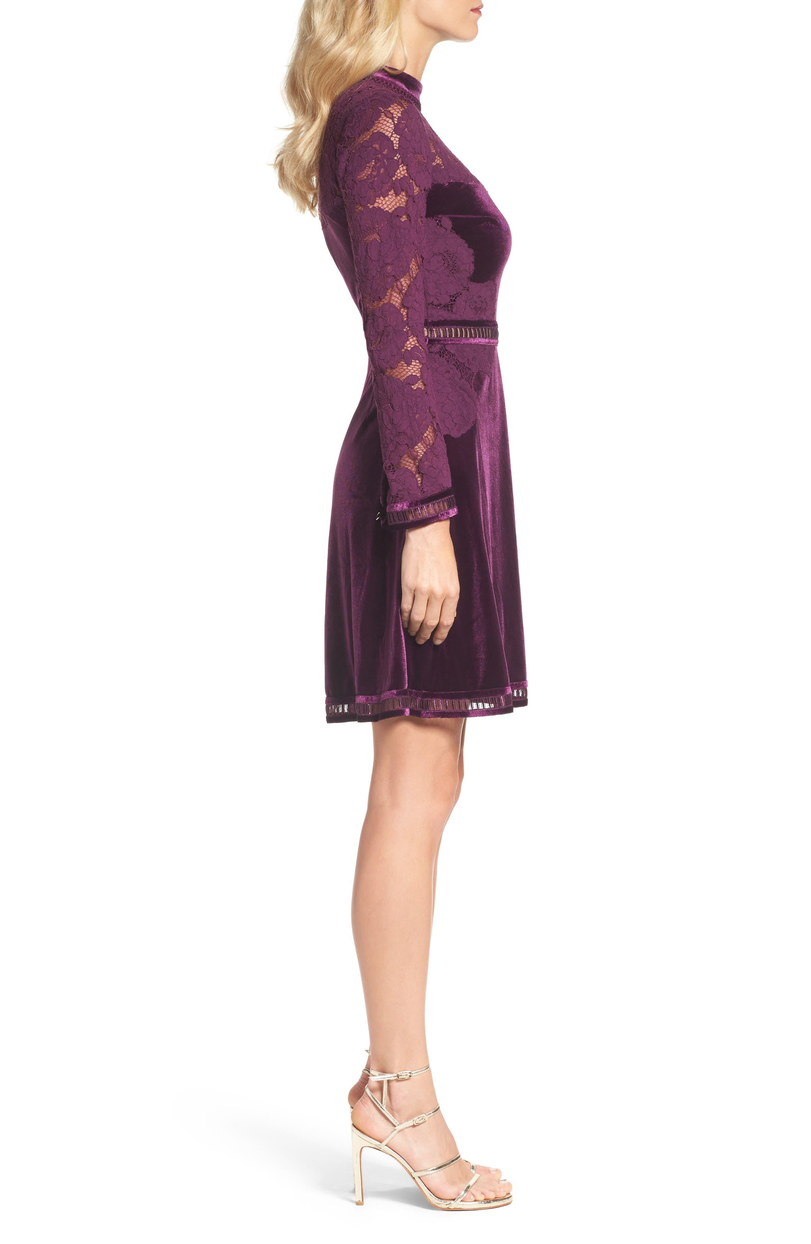 High Neck Lace & Velvet Cocktail Dress,                             Alternate thumbnail 3, color,                             572