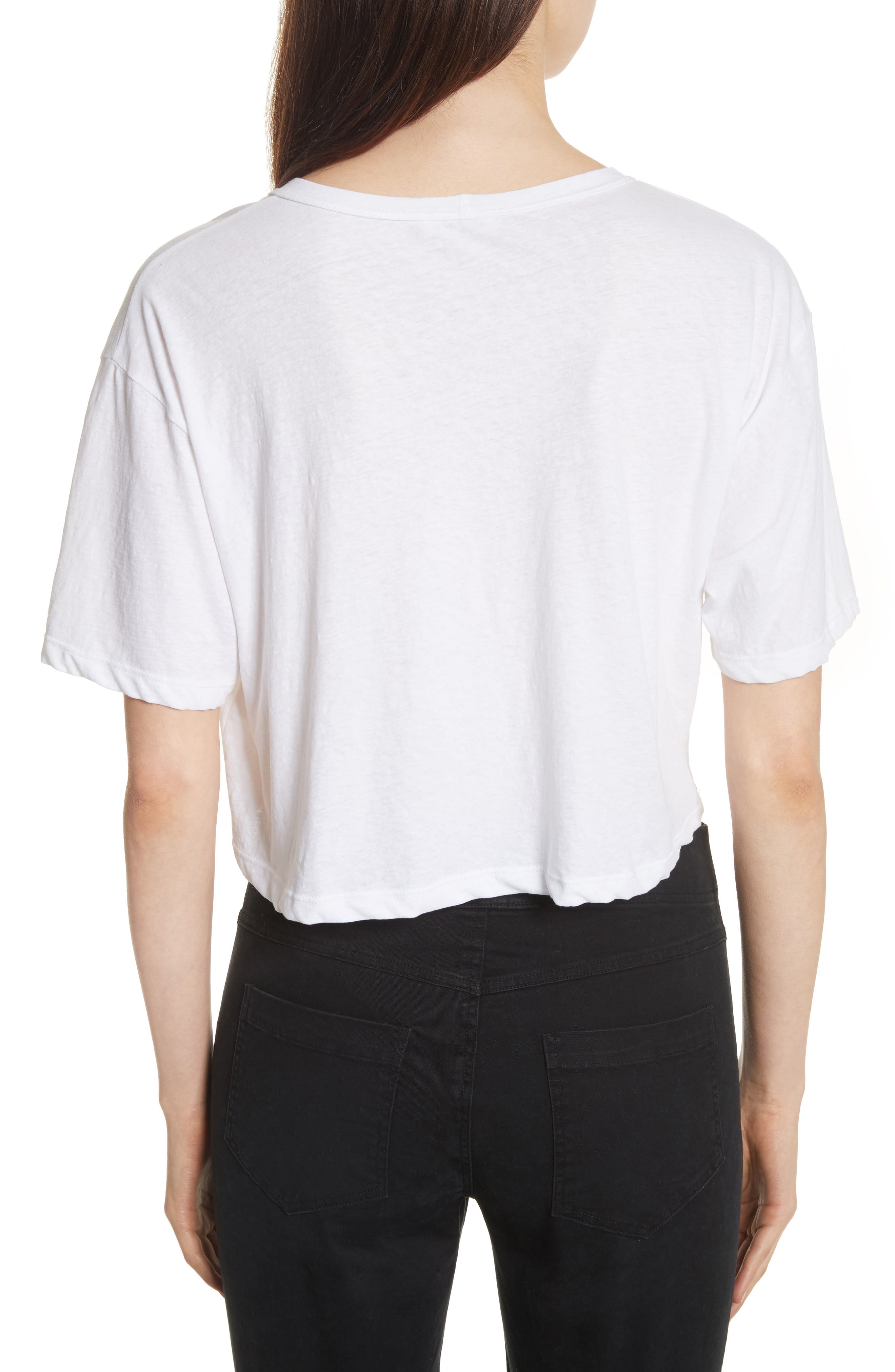 Teagan Palm Embroidered Crop Tee,                             Alternate thumbnail 2, color,                             101