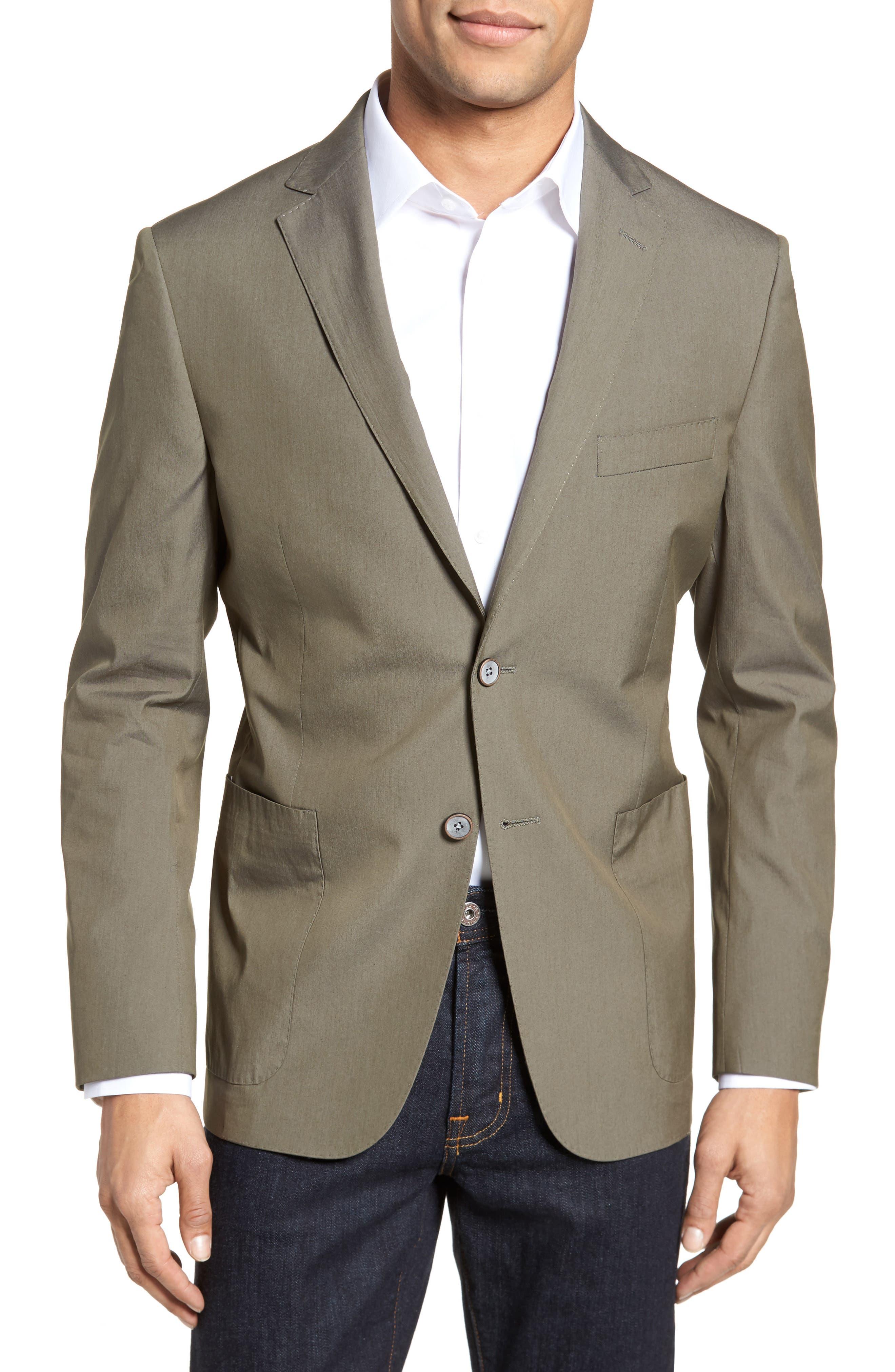 H Modern Fit Stretch Cotton Blend Blazer, Main, color, 300