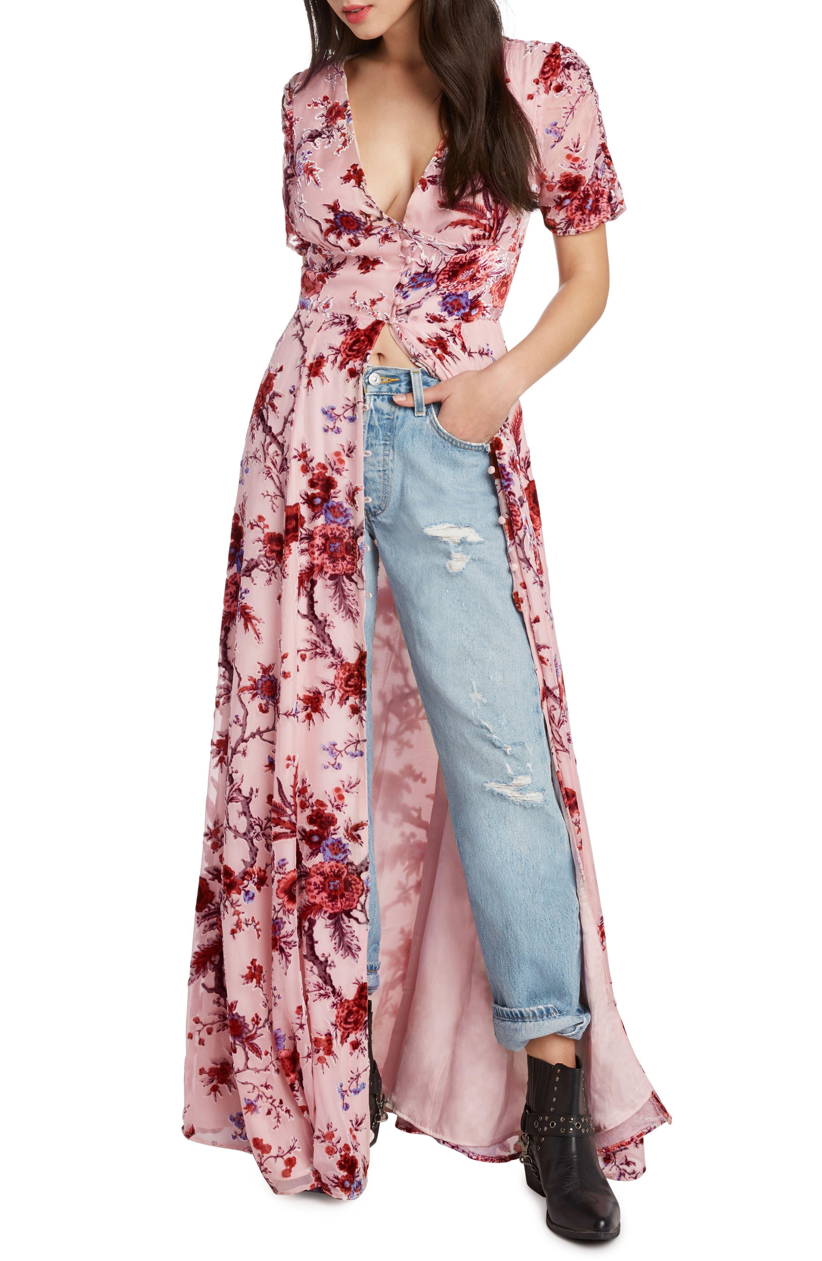 Floral Burnout Maxi Dress,                             Alternate thumbnail 3, color,                             ROSE