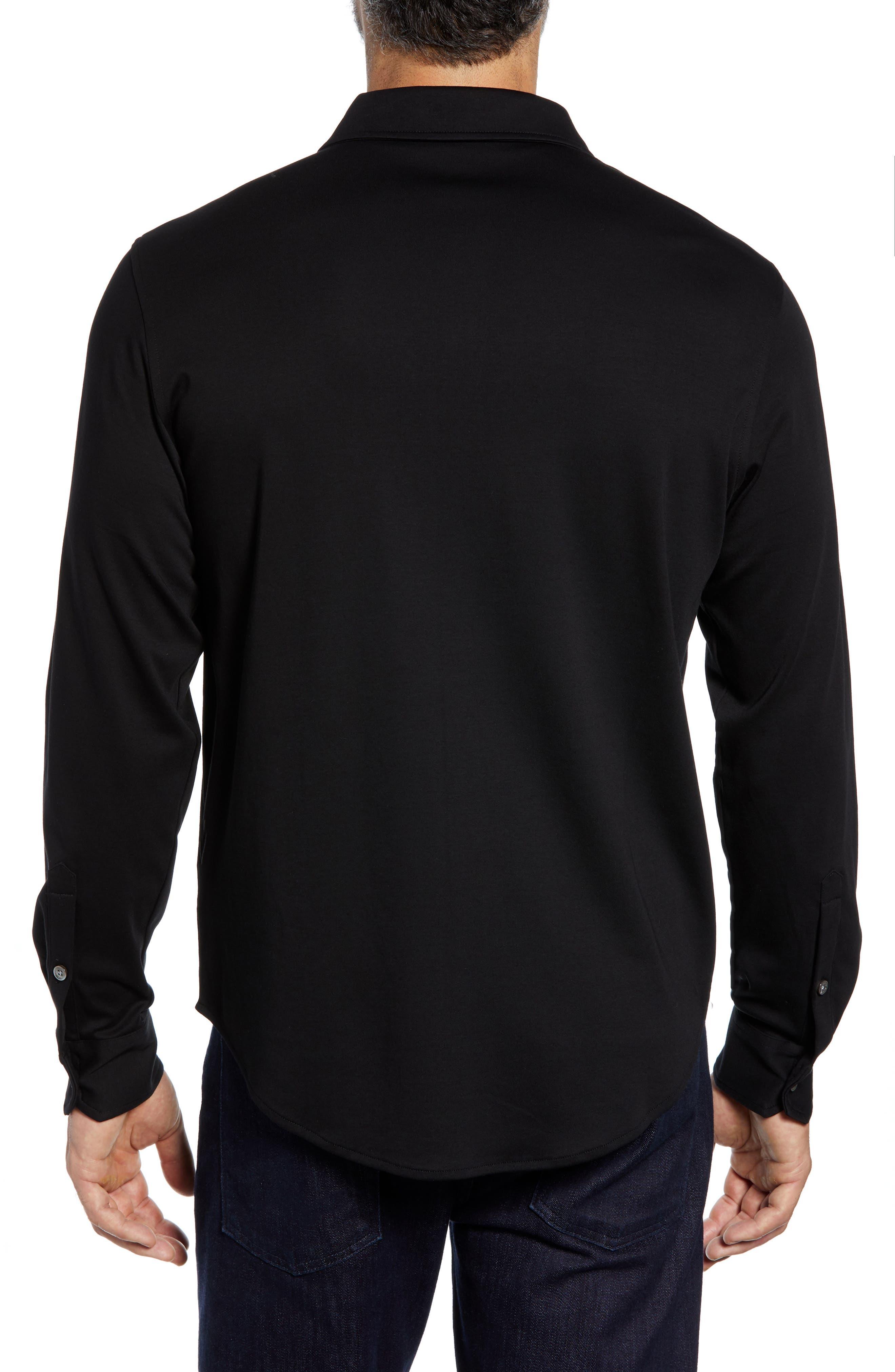 Regular Fit Knit Sport Shirt,                             Alternate thumbnail 3, color,                             BLACK
