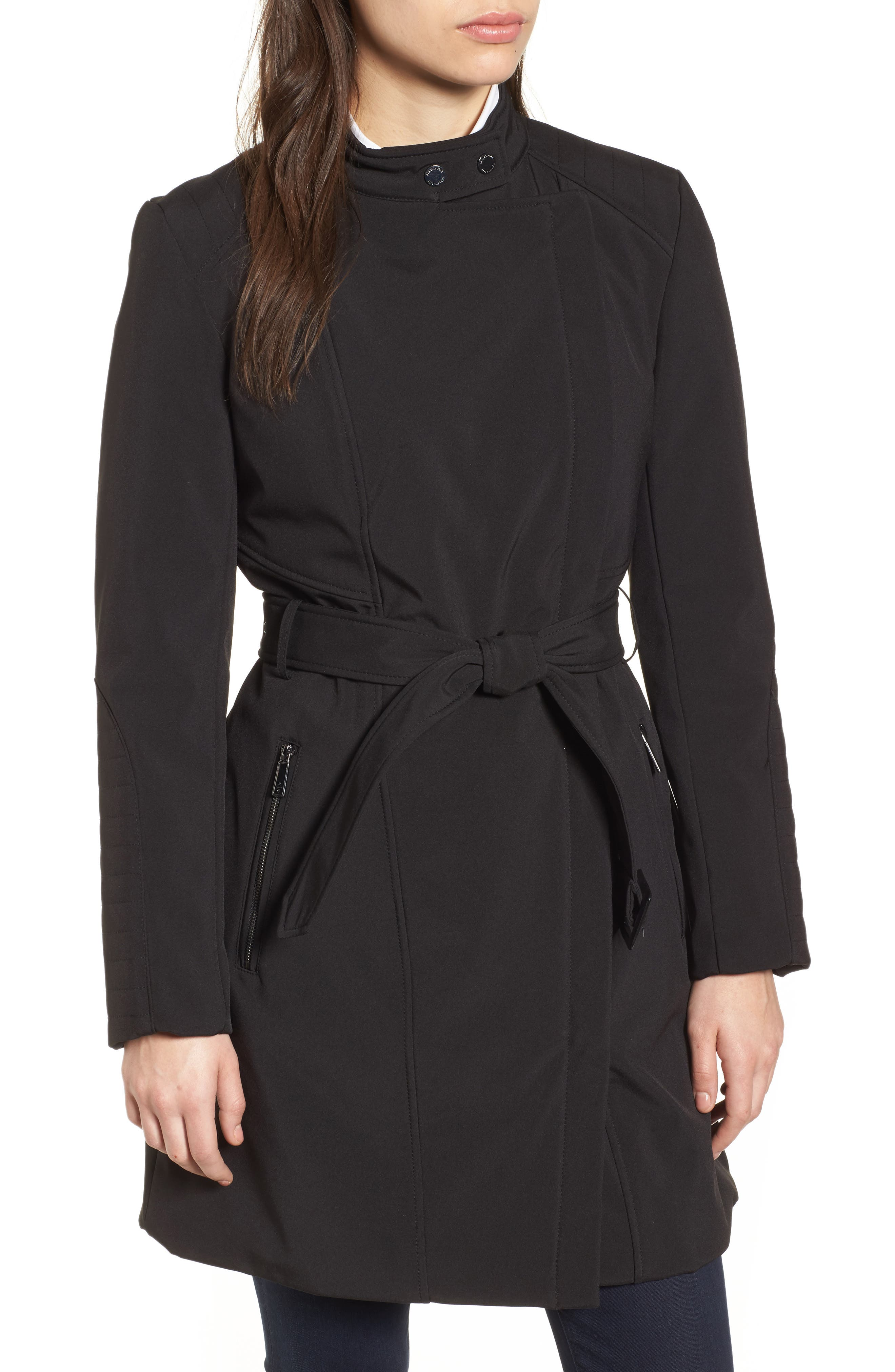 Asymmetrical Belted Trench Coat,                             Alternate thumbnail 4, color,                             001