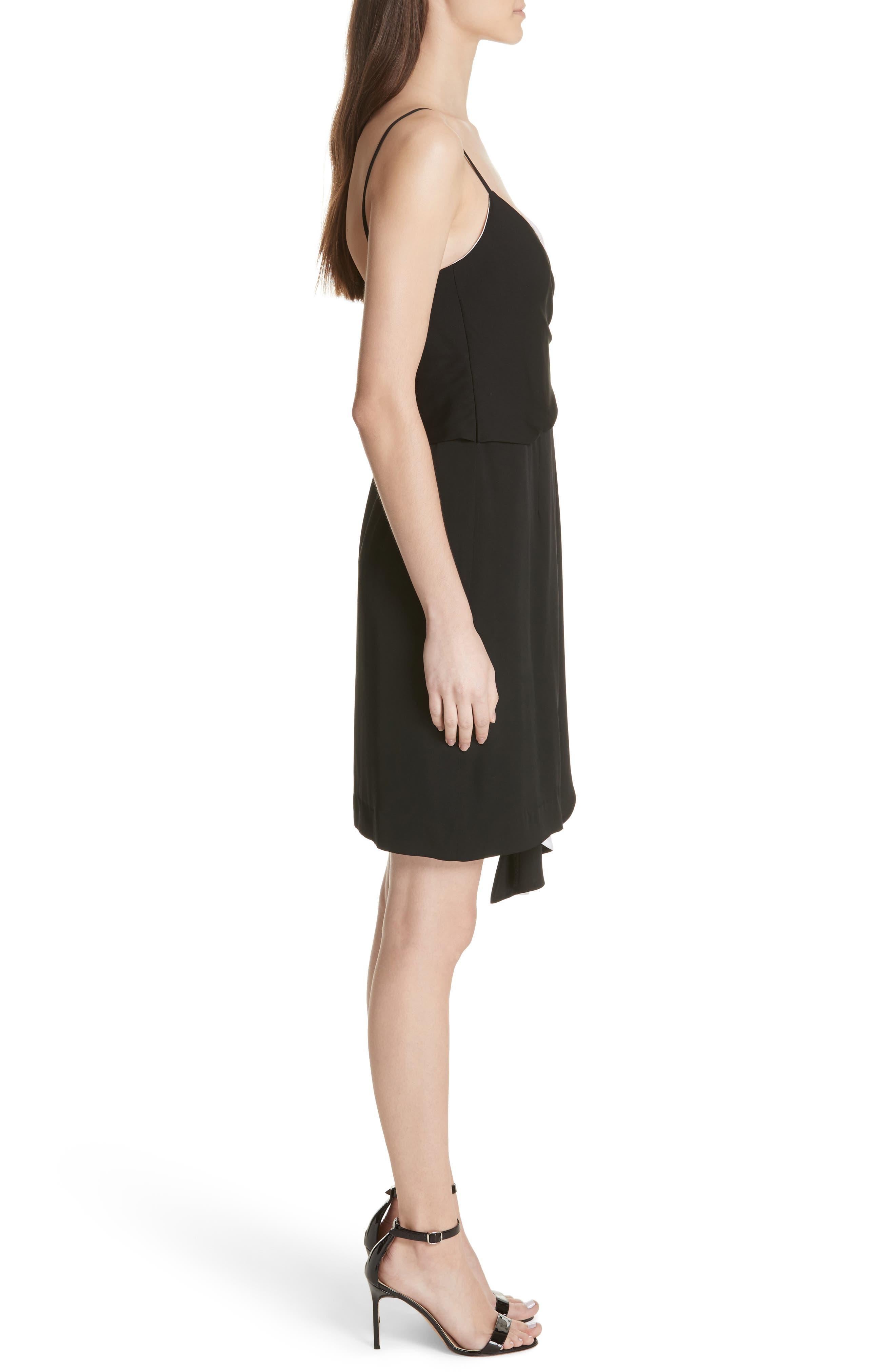 Cindy Two-Tone Stretch Silk Dress,                             Alternate thumbnail 3, color,                             006