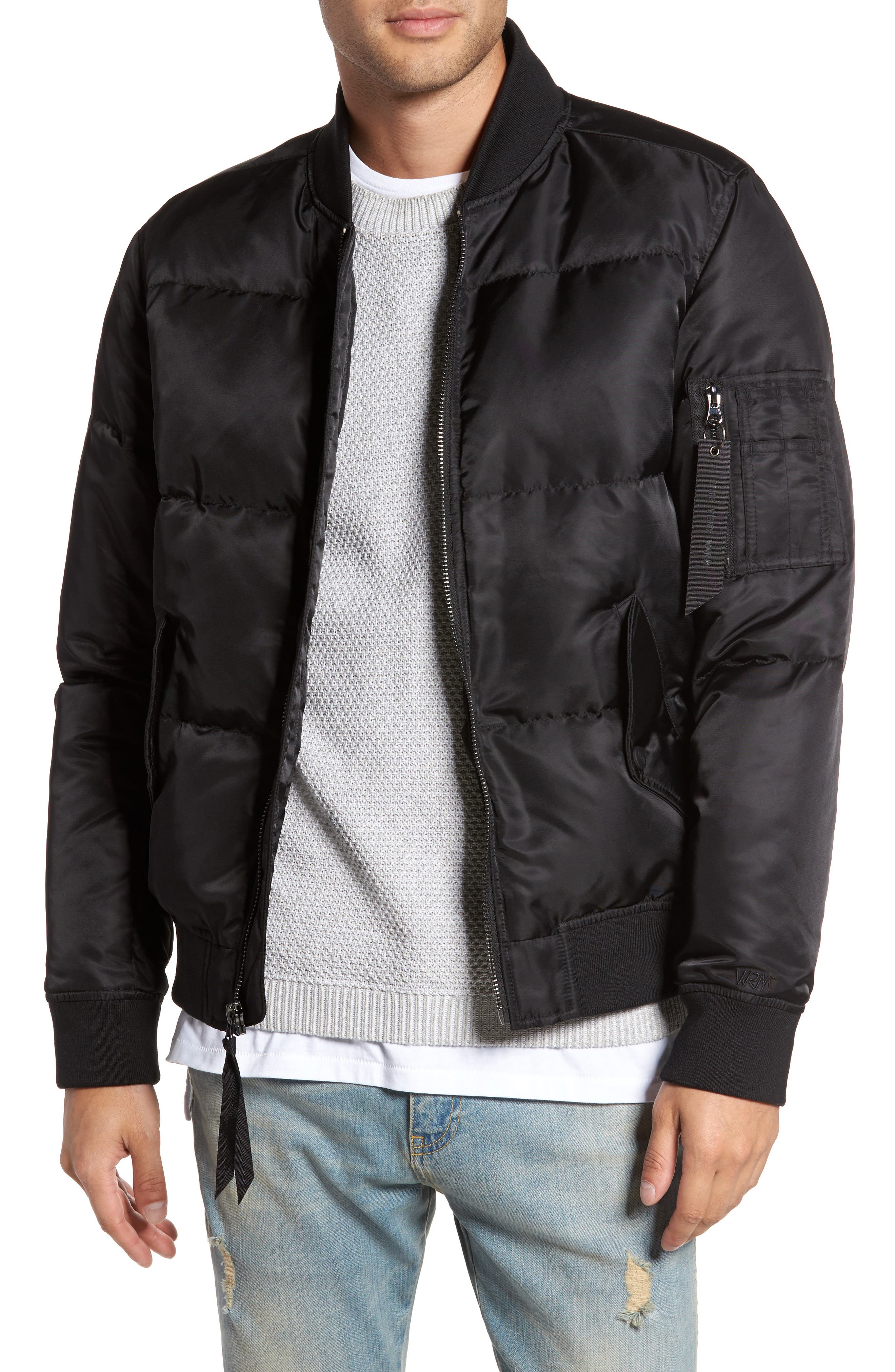 Quilted Down Bomber Jacket,                         Main,                         color, 001