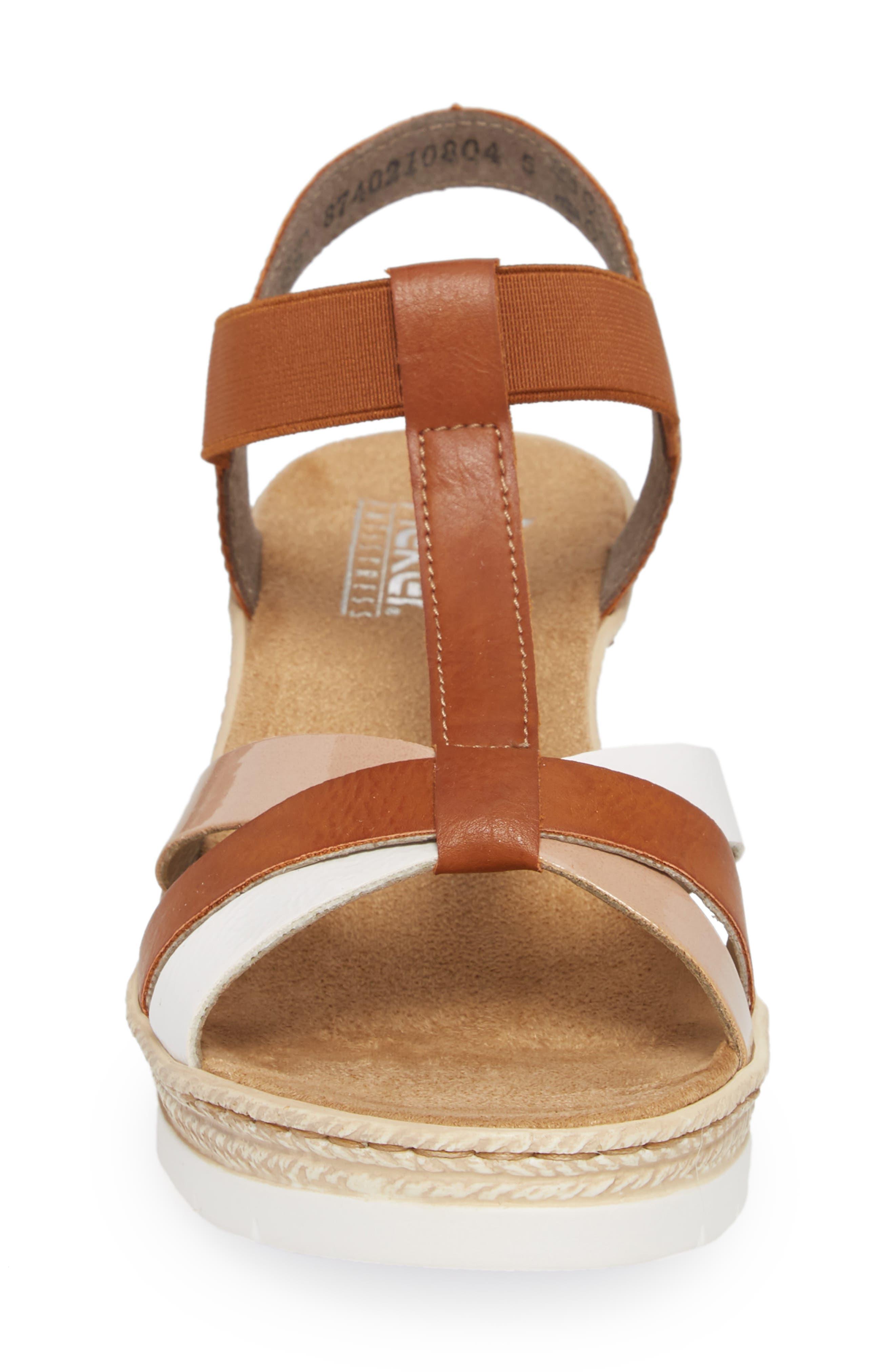 RIEKER ANTISTRESS,                             Fanni 95 Espadrille Wedge Sandal,                             Alternate thumbnail 4, color,                             BIANCO/ CAYENNE