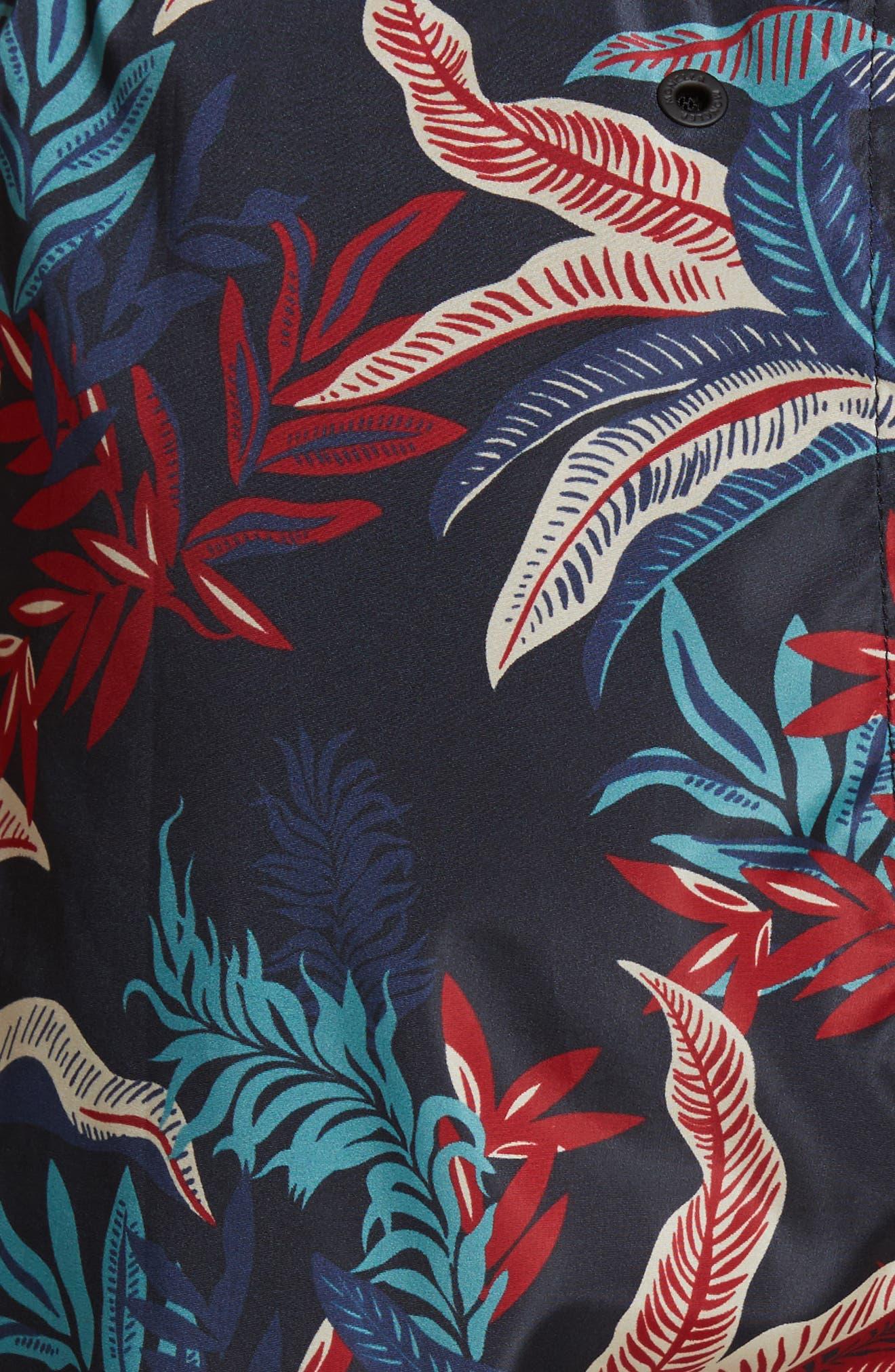Floral Print Swim Trunks,                             Alternate thumbnail 5, color,                             409