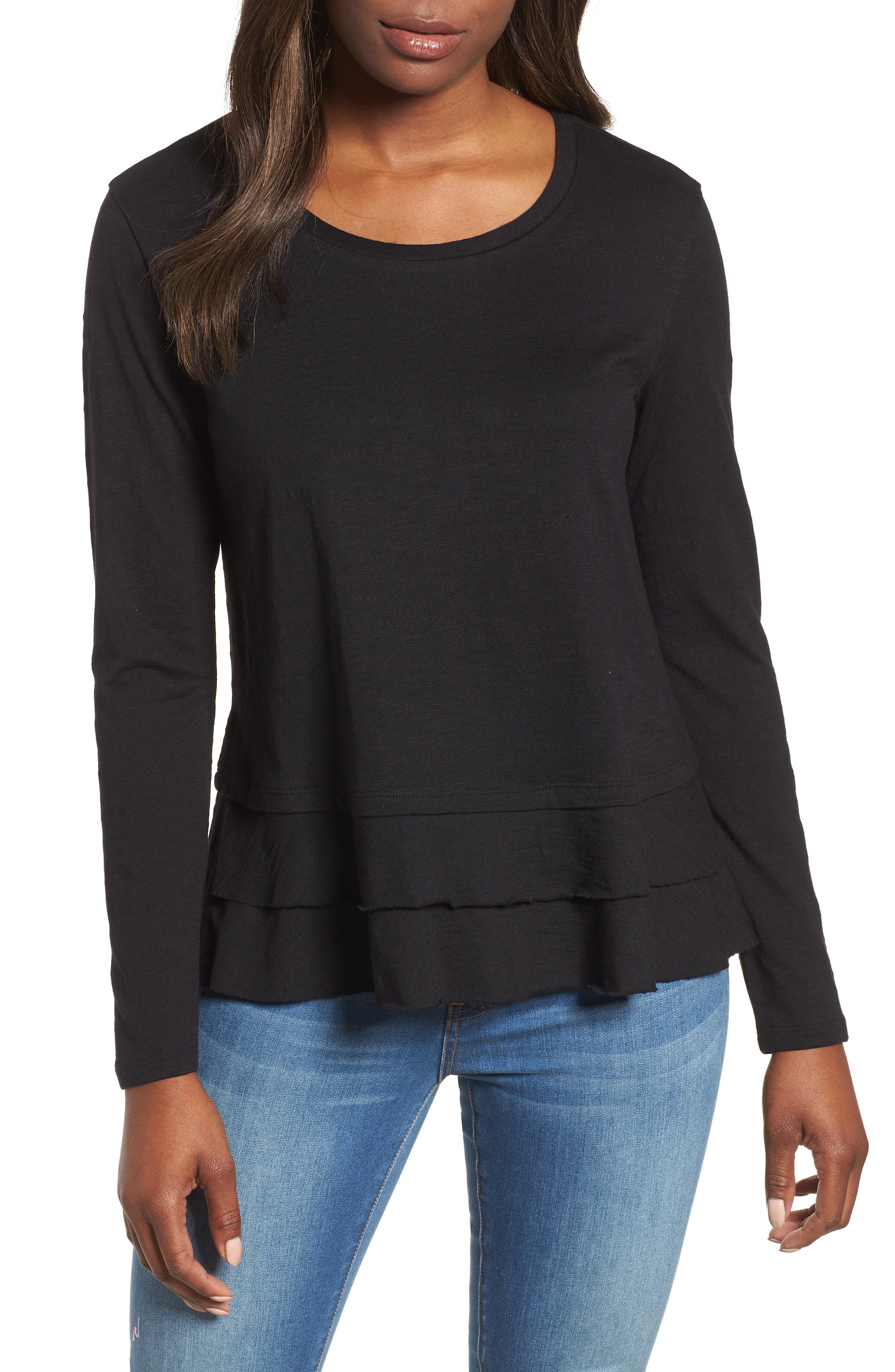 Tiered Long Sleeve Tee,                             Main thumbnail 1, color,                             001