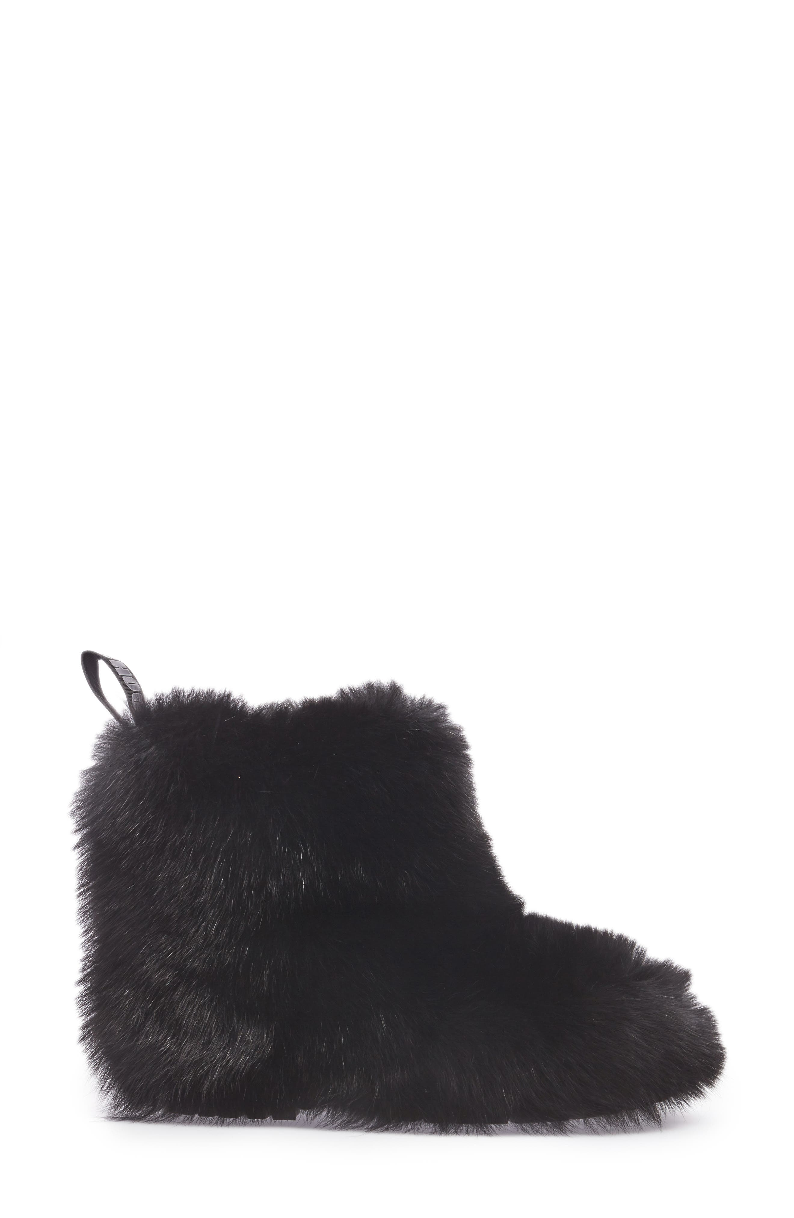 Dalton Genuine Fox & Rabbit Fur Bootie,                             Alternate thumbnail 3, color,                             001
