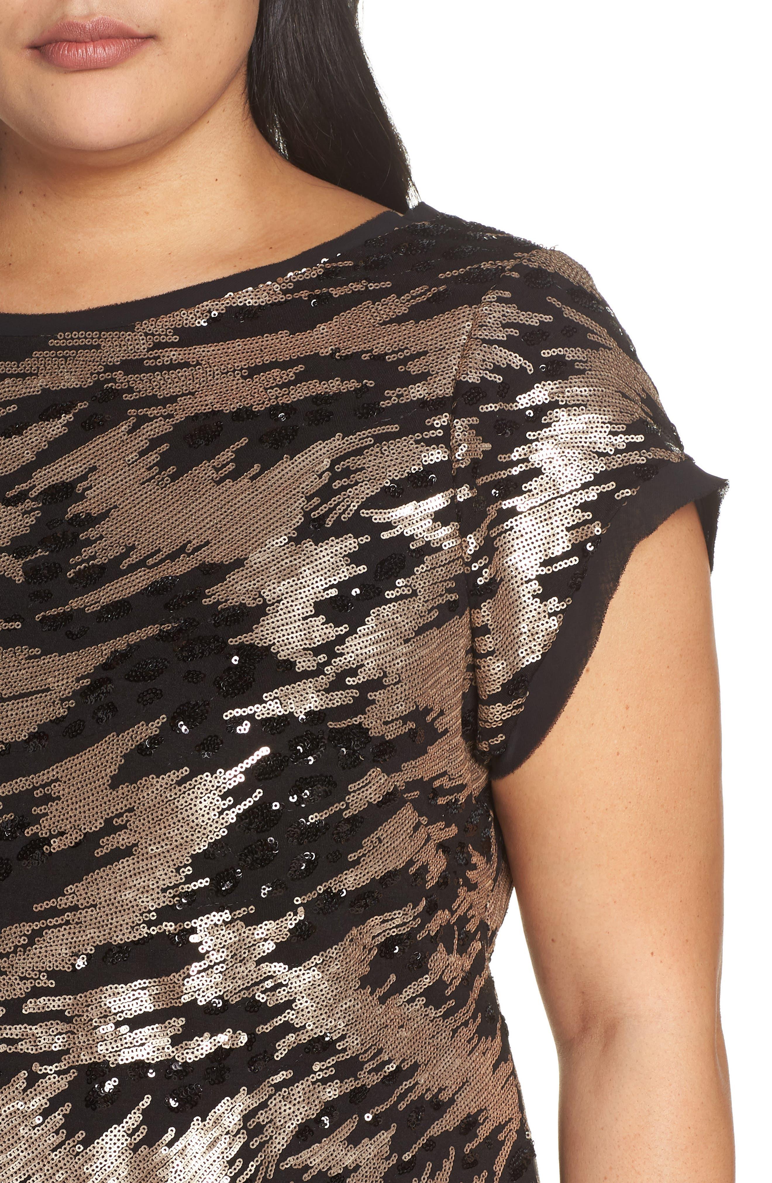ELIZA J,                             Sequin Sheath Dress,                             Alternate thumbnail 4, color,                             002