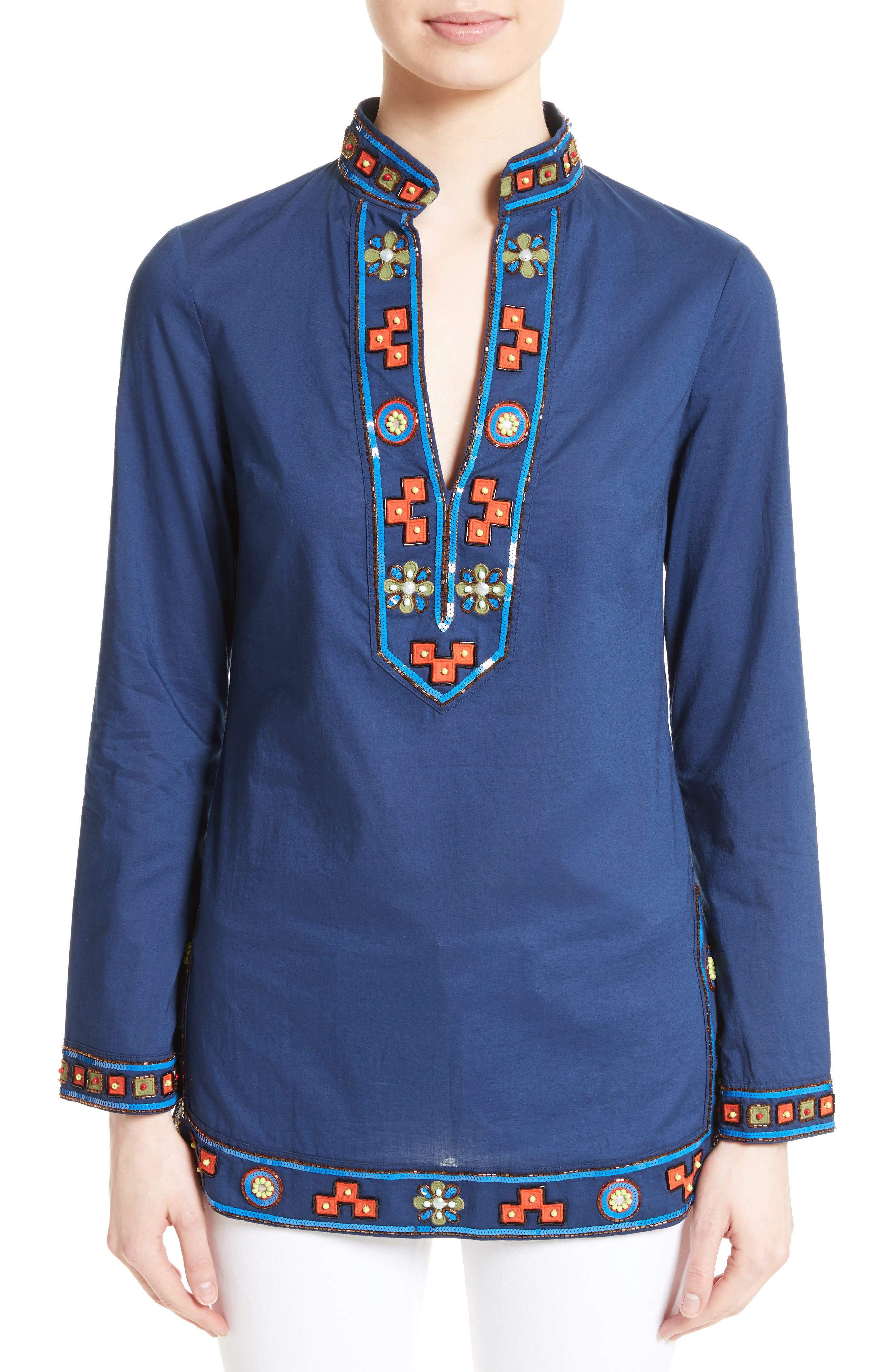 Embellished Tory Tunic, Main, color, 458