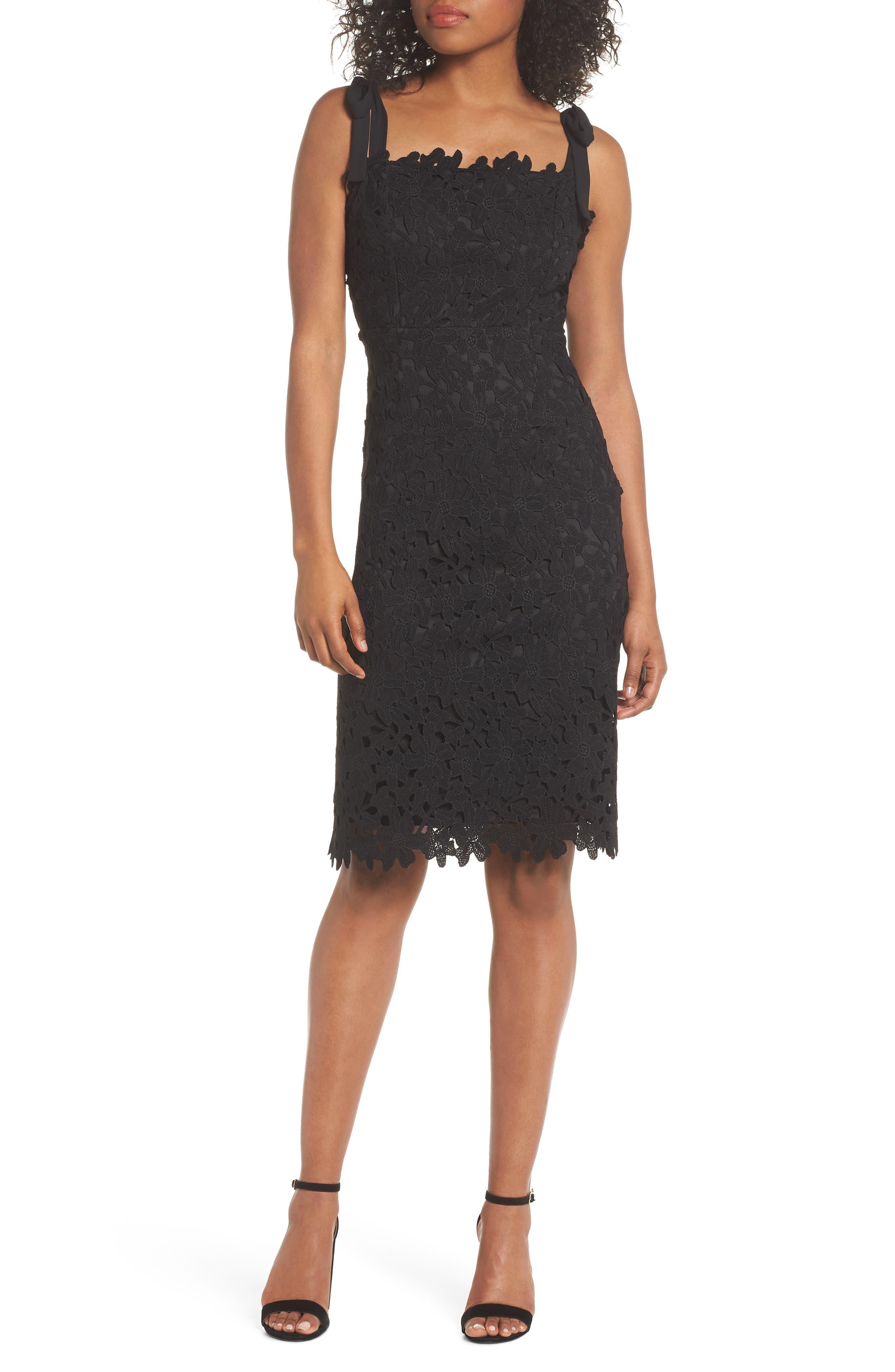 Amy Lace Sheath Dress,                             Main thumbnail 1, color,                             001