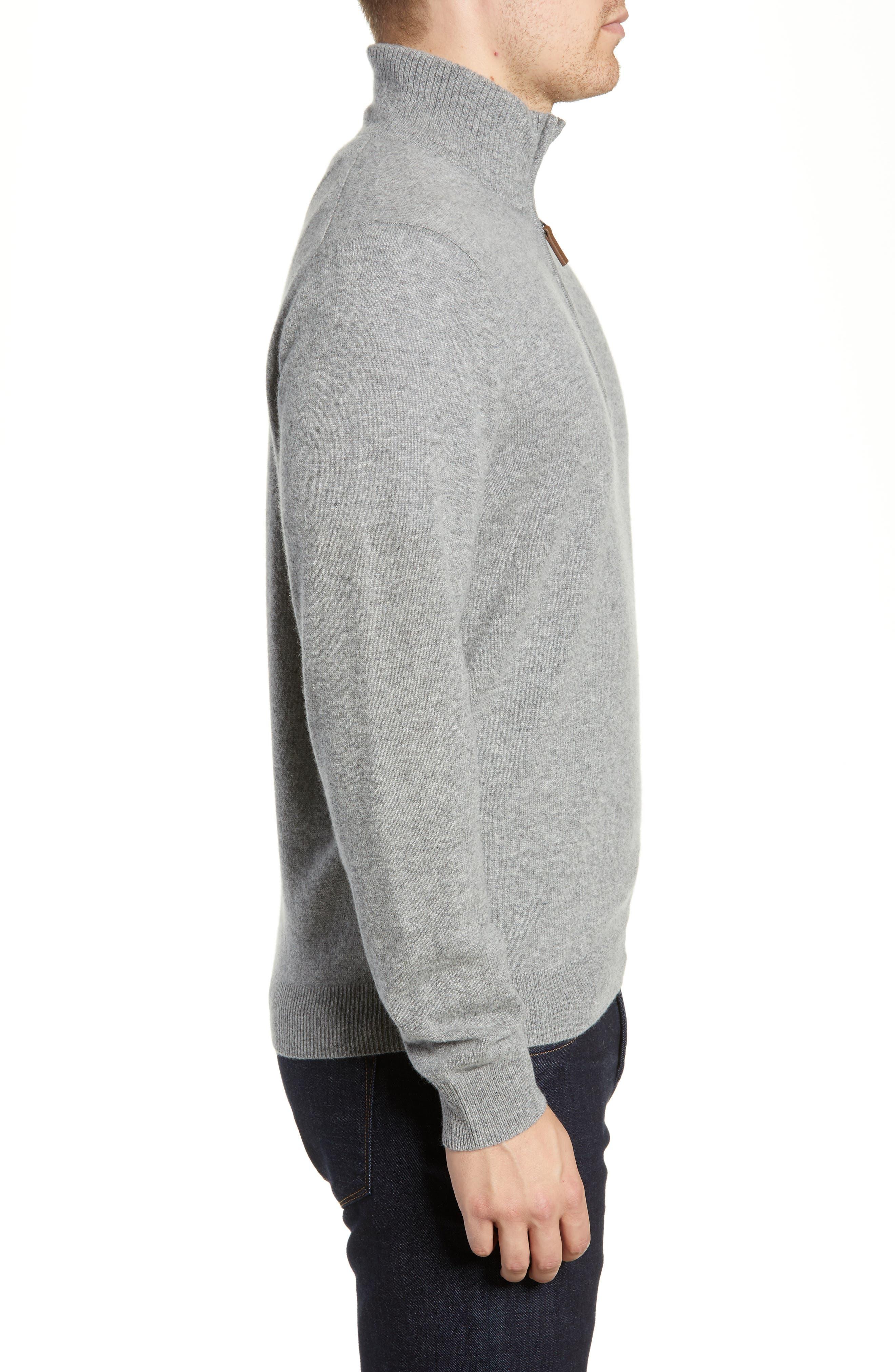 Regular Fit Cashmere Quarter Zip Pullover,                             Alternate thumbnail 3, color,                             GREY DRIFTWOOD