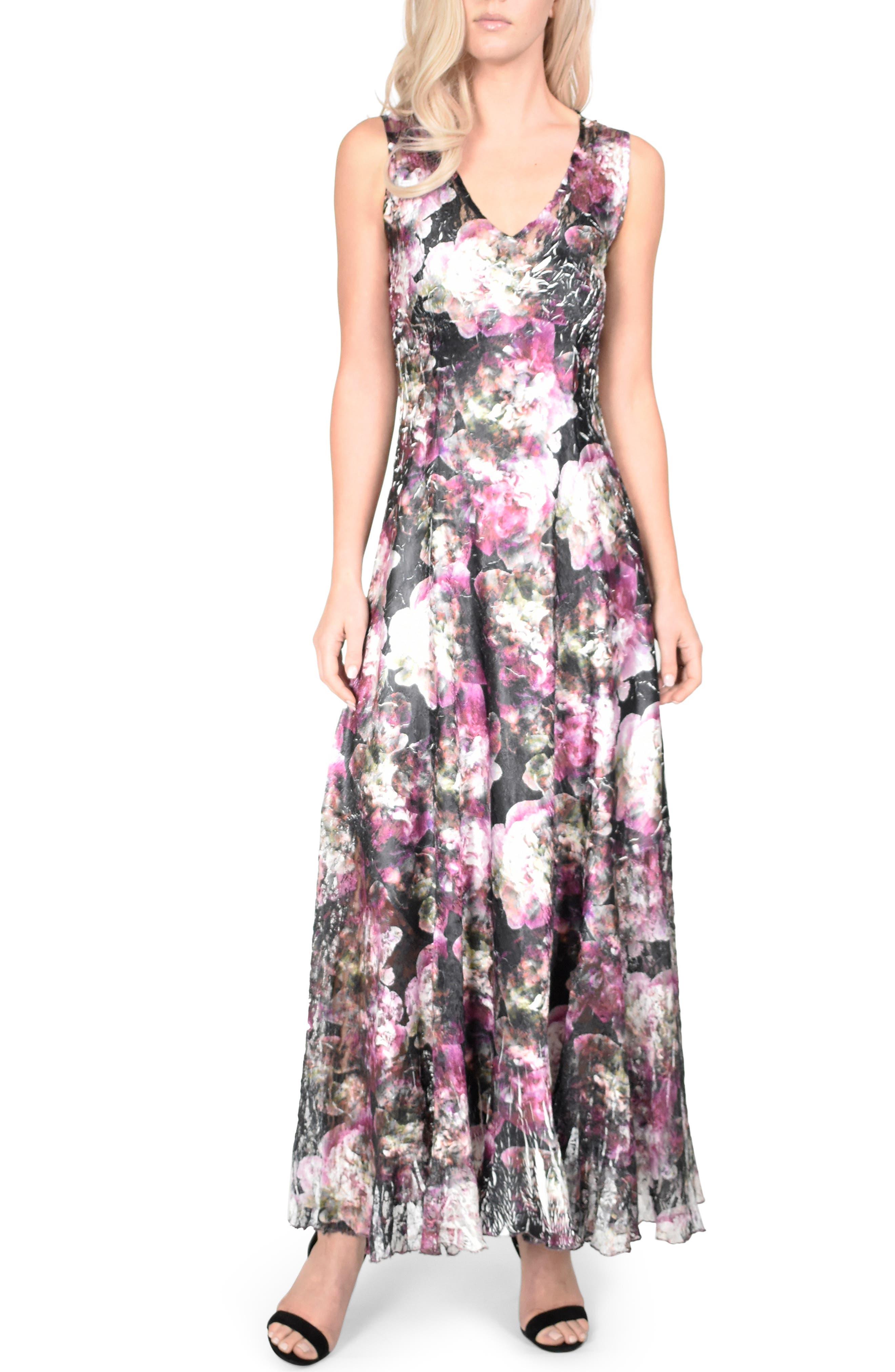 Komarov Lace-Up Back Maxi Dress With Wrap, Black