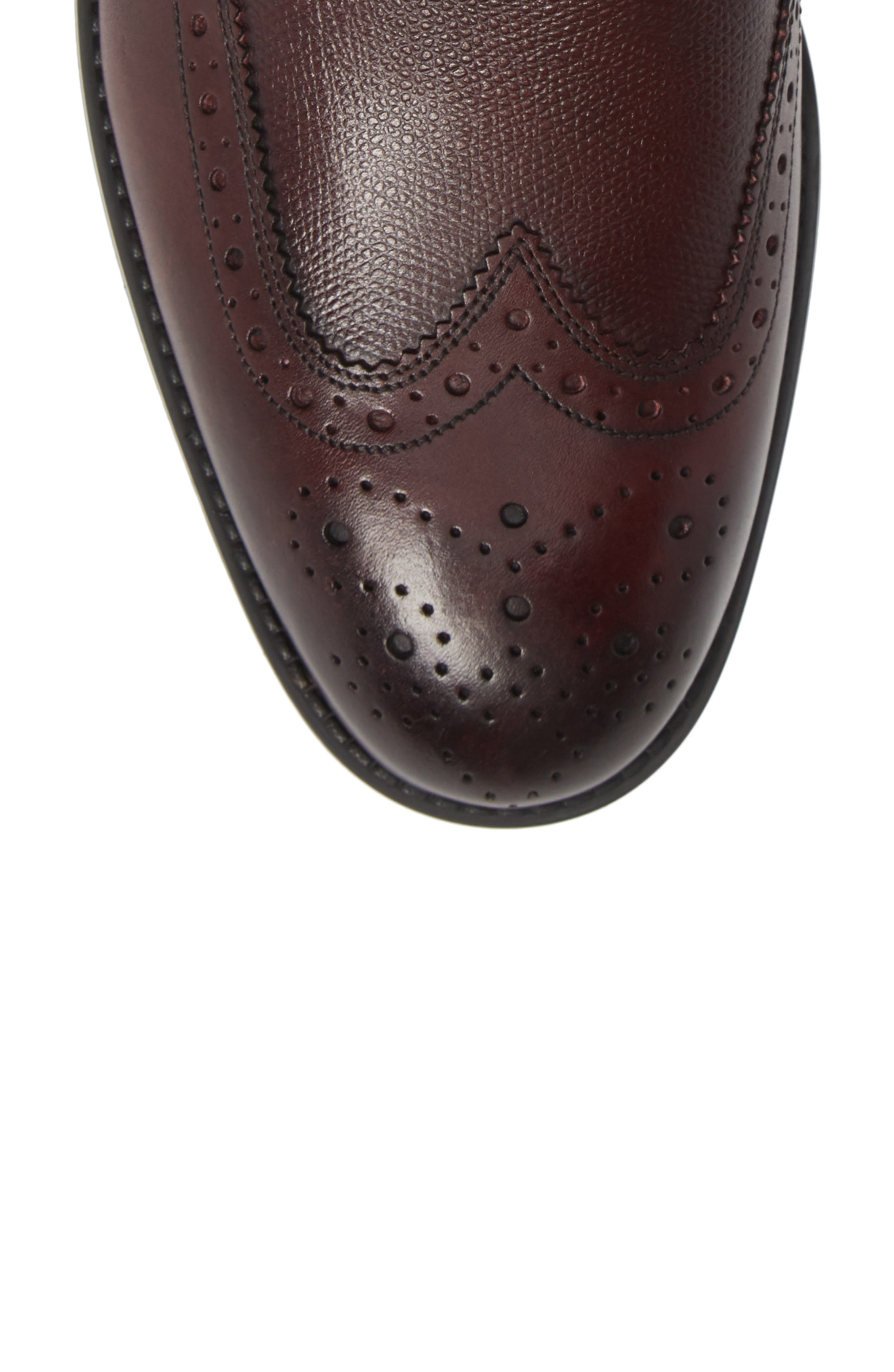 Brogue Ankle Boot,                             Alternate thumbnail 5, color,                             DARK RED LEATHER