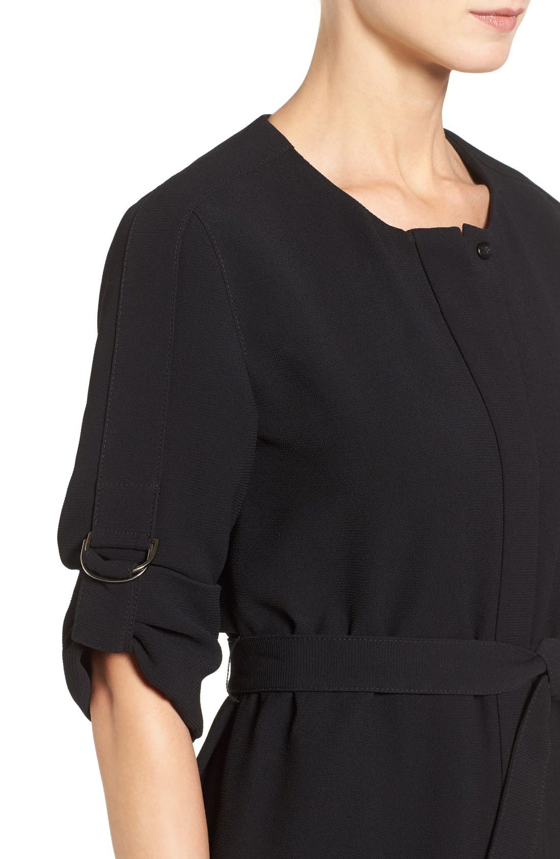'Hamika' Belted Roll Sleeve Shirtdress,                             Alternate thumbnail 2, color,                             001