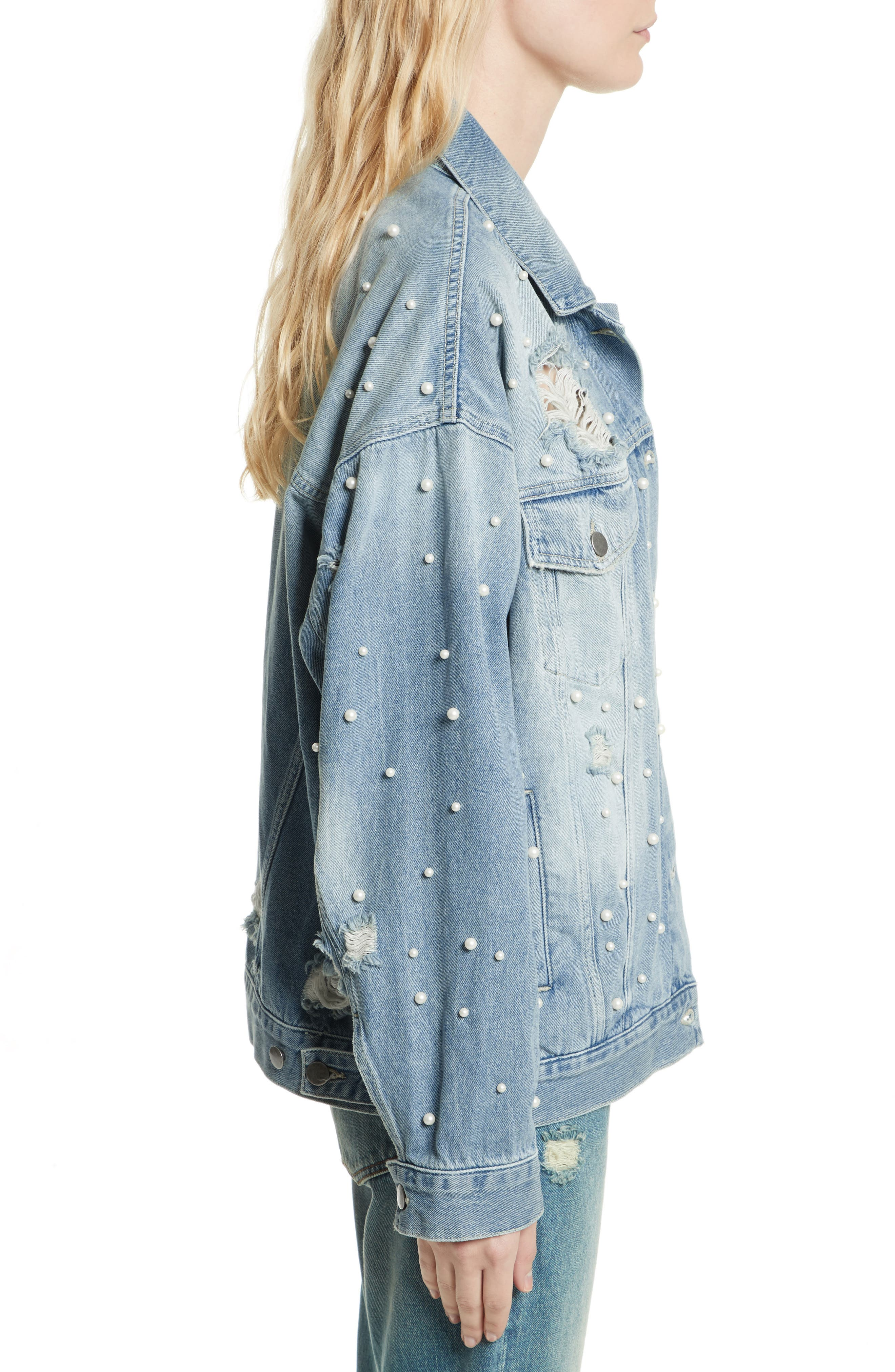 We the Free by Free People Sunday Funday Denim Trucker Jacket,                             Alternate thumbnail 3, color,                             403