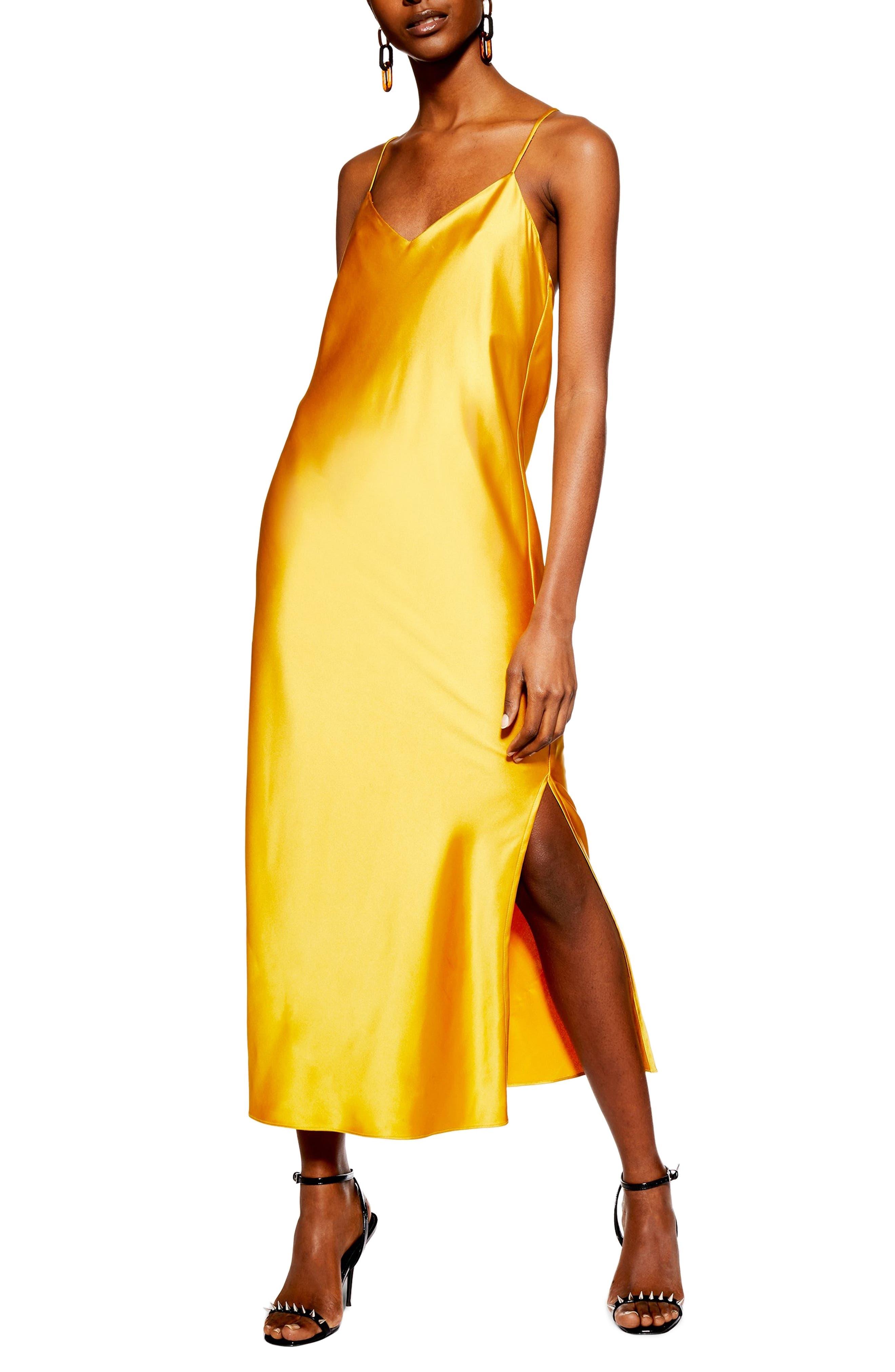 Topshop Plain Satin Slipdress, US (fits like 14) - Yellow