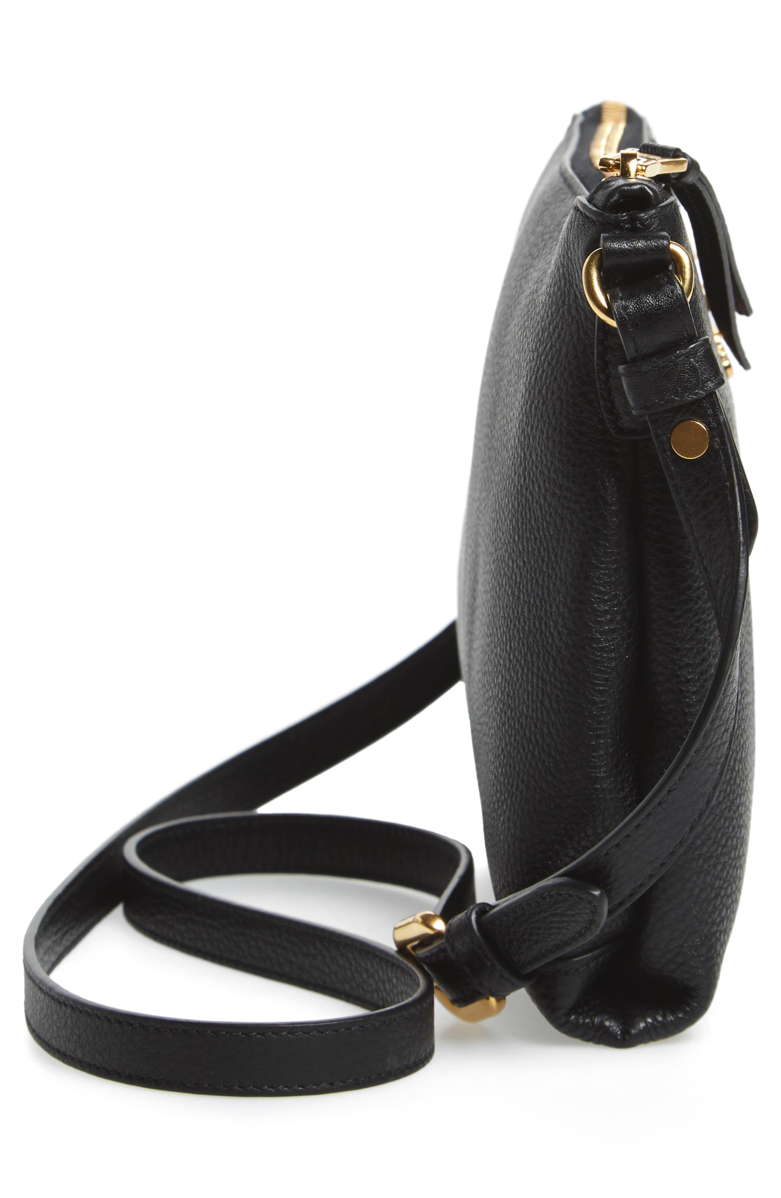 Vitello Daino Leather Crossbody Bag,                             Alternate thumbnail 6, color,                             001