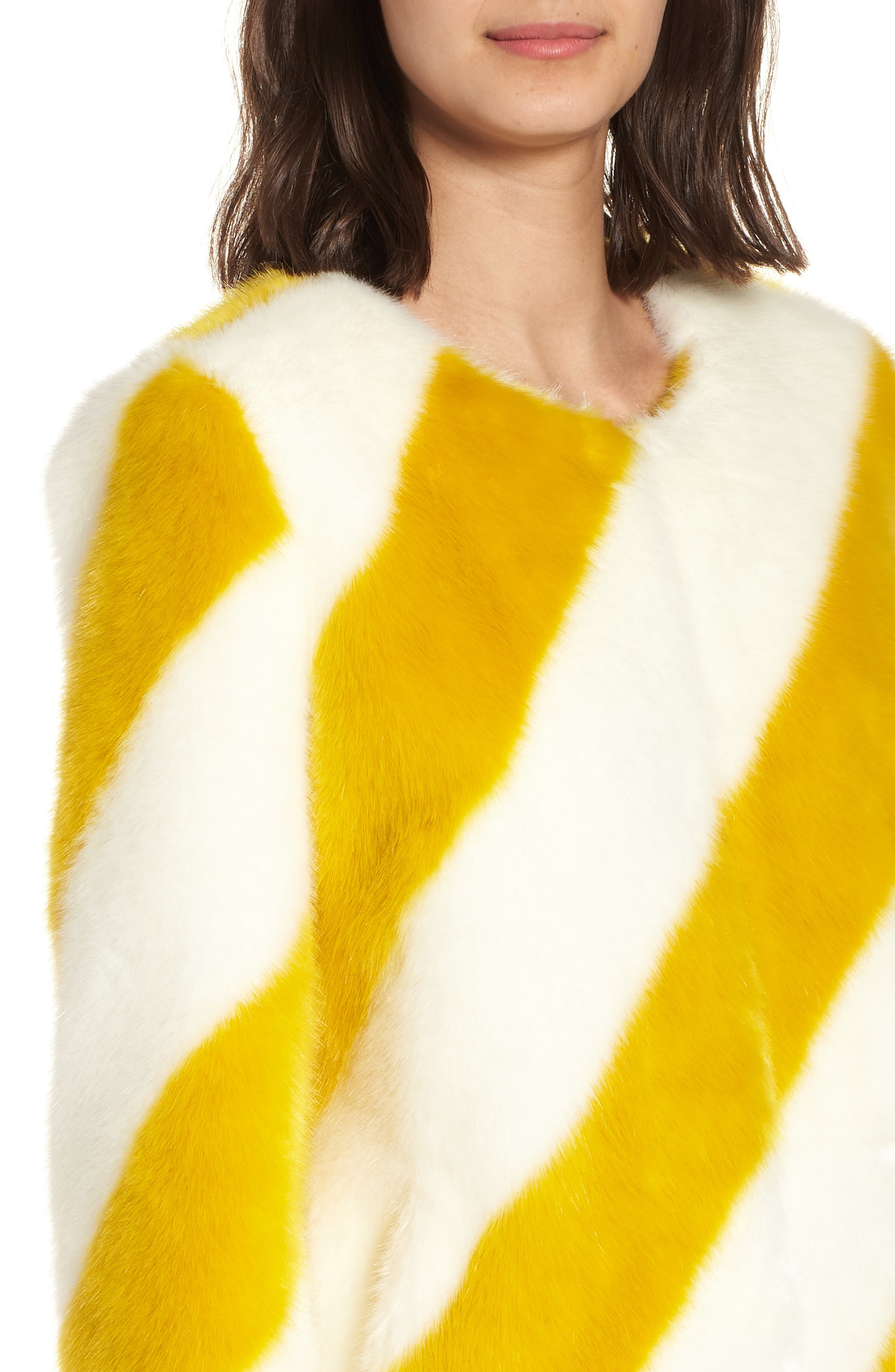 Collarless Chubby Faux Fur Jacket,                             Alternate thumbnail 4, color,                             IVORY/ MARIGOLD STRIPE
