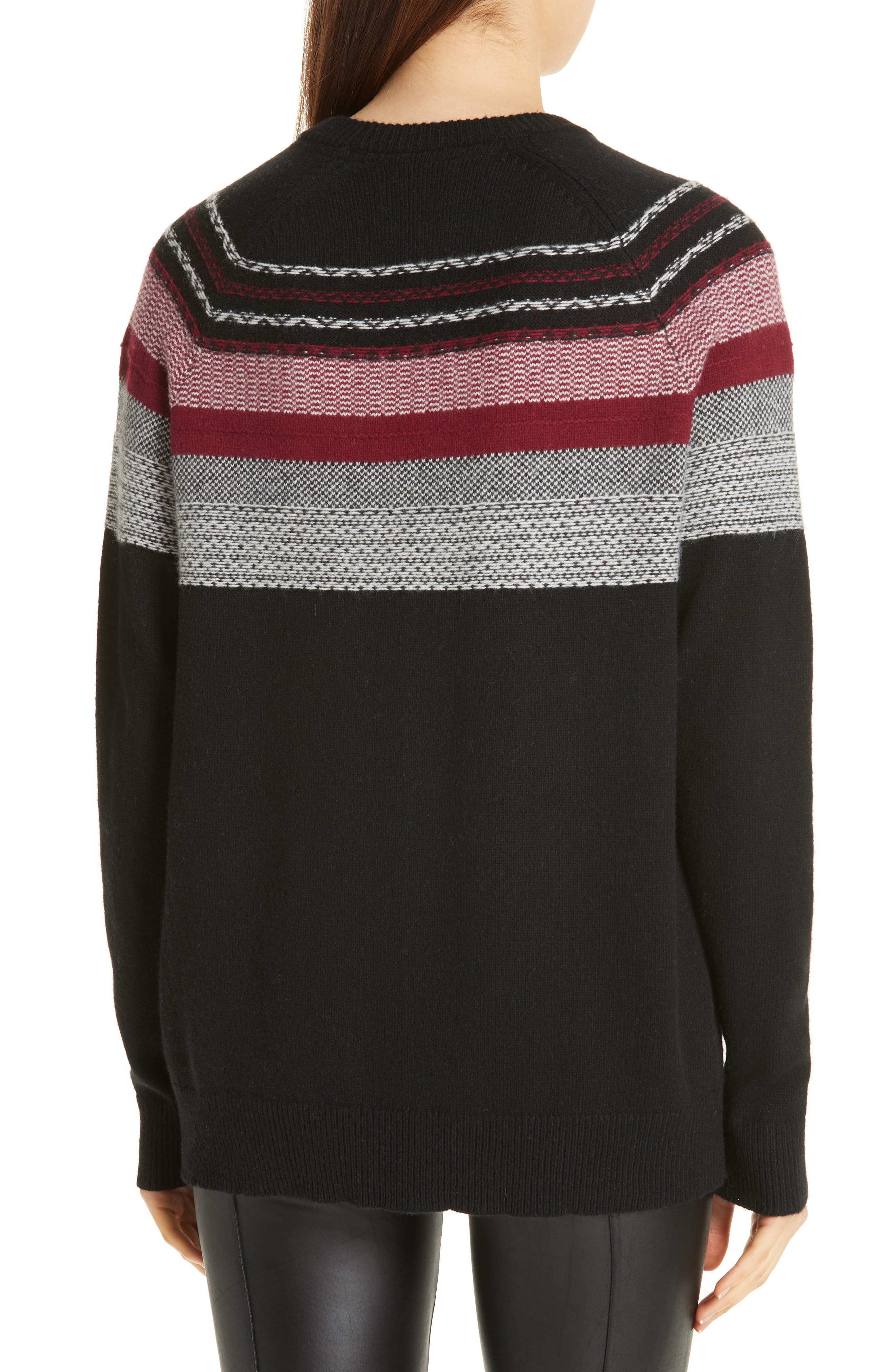 Fair Isle Merino Wool Blend Sweater,                             Alternate thumbnail 2, color,                             BLACK/ RED COMBO