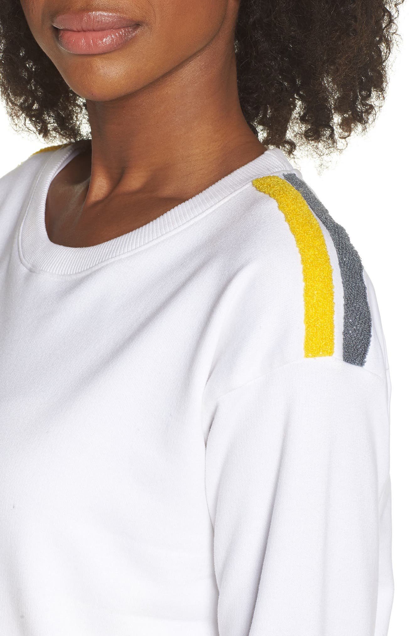BoomBoom Athletica Tricolor Shoulder Sweatshirt,                             Alternate thumbnail 4, color,                             WHITE/ GREY/ YELLOW