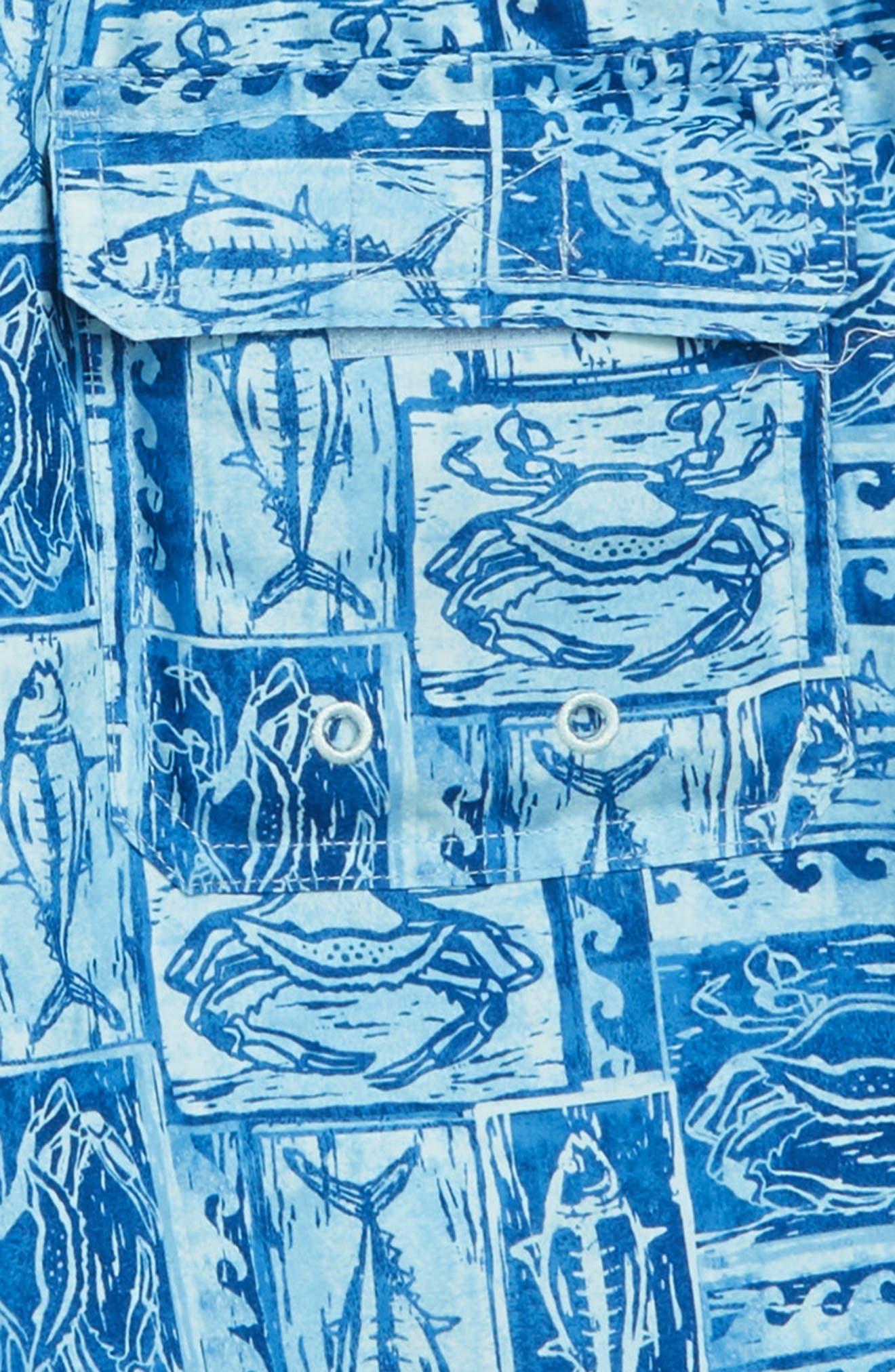 Chappy Woodblock Sea Life Swim Trunks,                             Alternate thumbnail 3, color,                             JAKE BLUE