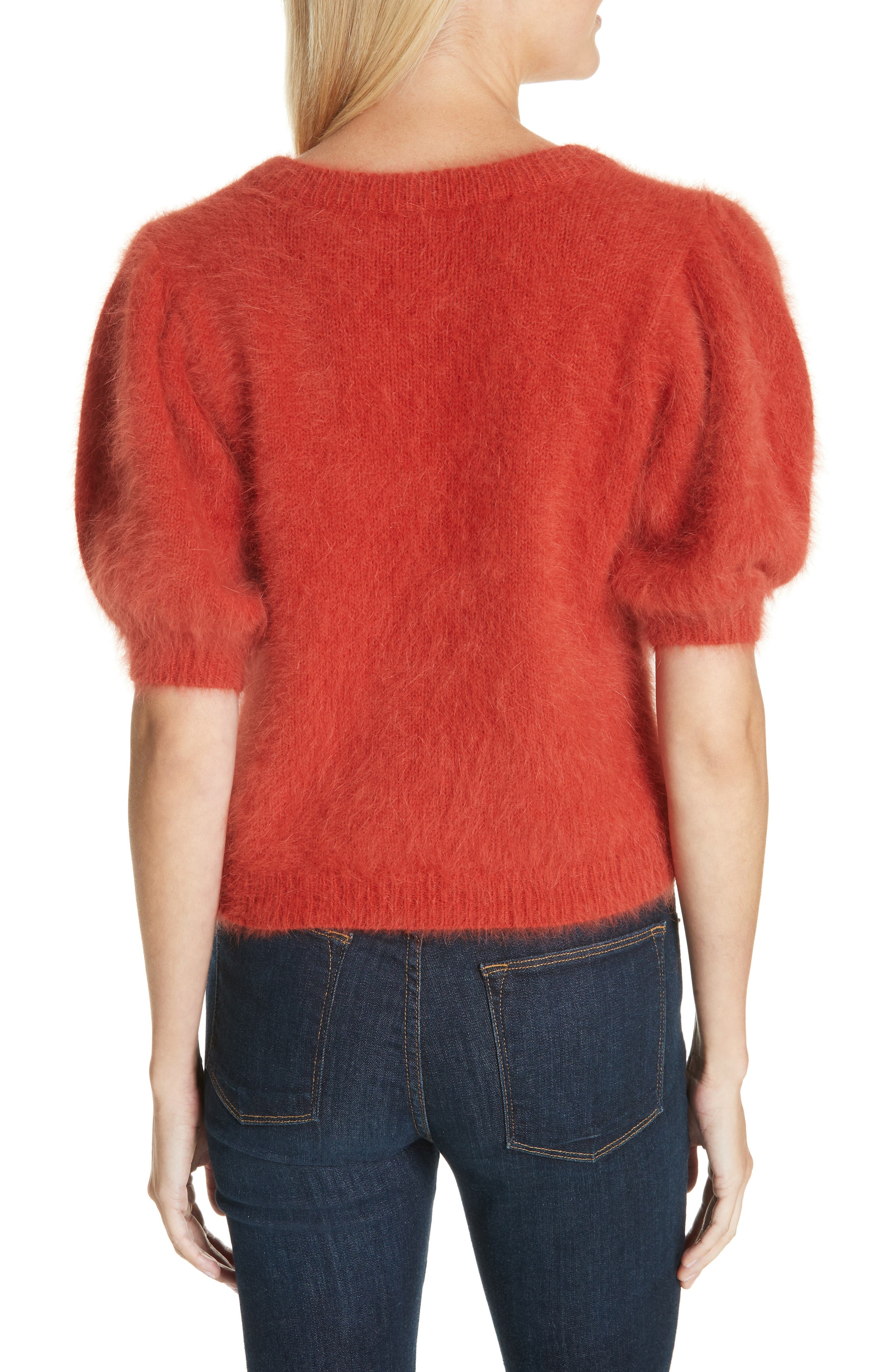 Aries Puff Sleeve Sweater,                             Alternate thumbnail 2, color,                             CRIMSON