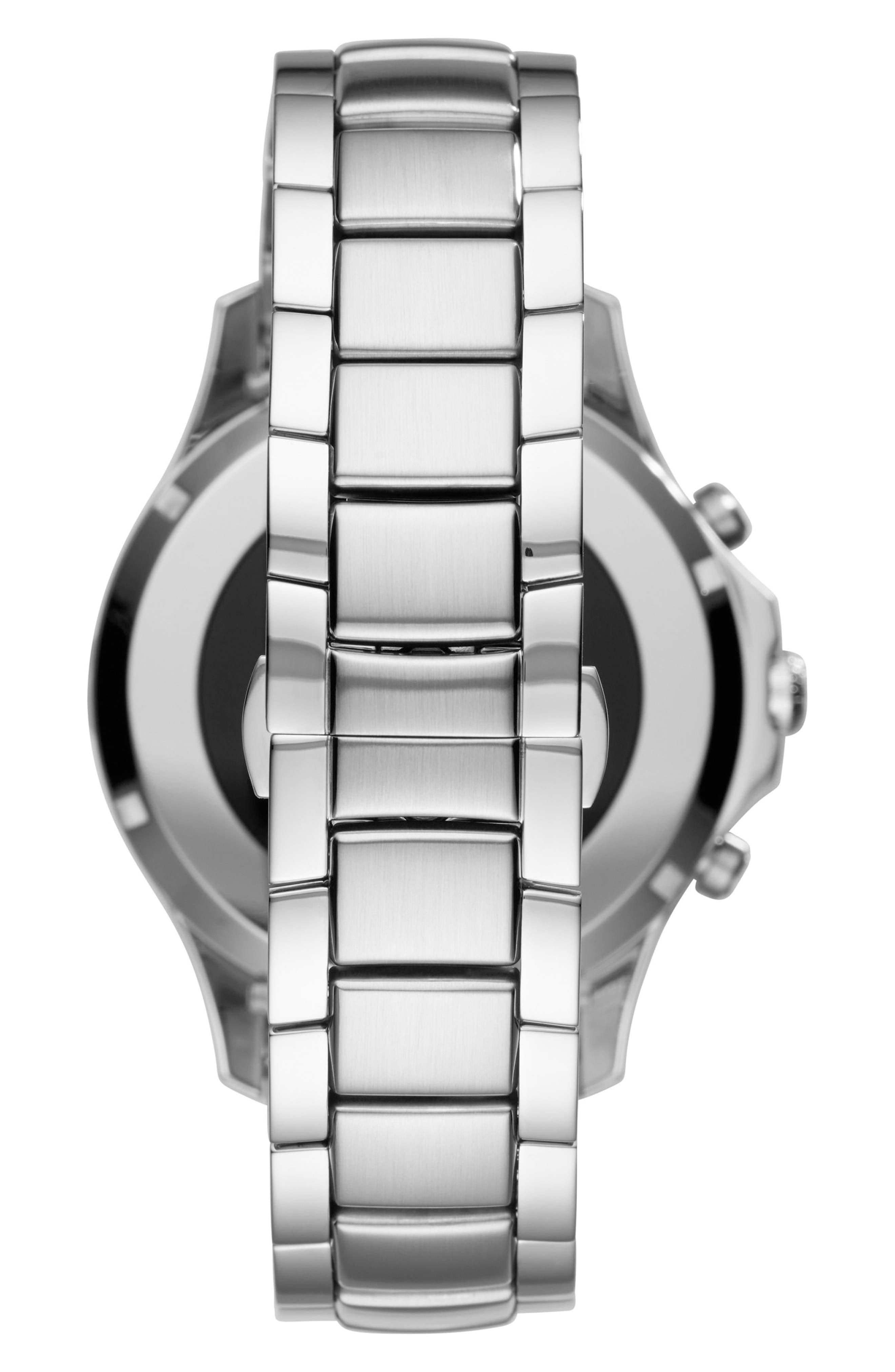 Touchscreen Bracelet Smartwatch, 46mm,                             Alternate thumbnail 2, color,                             BLACK/ SILVER