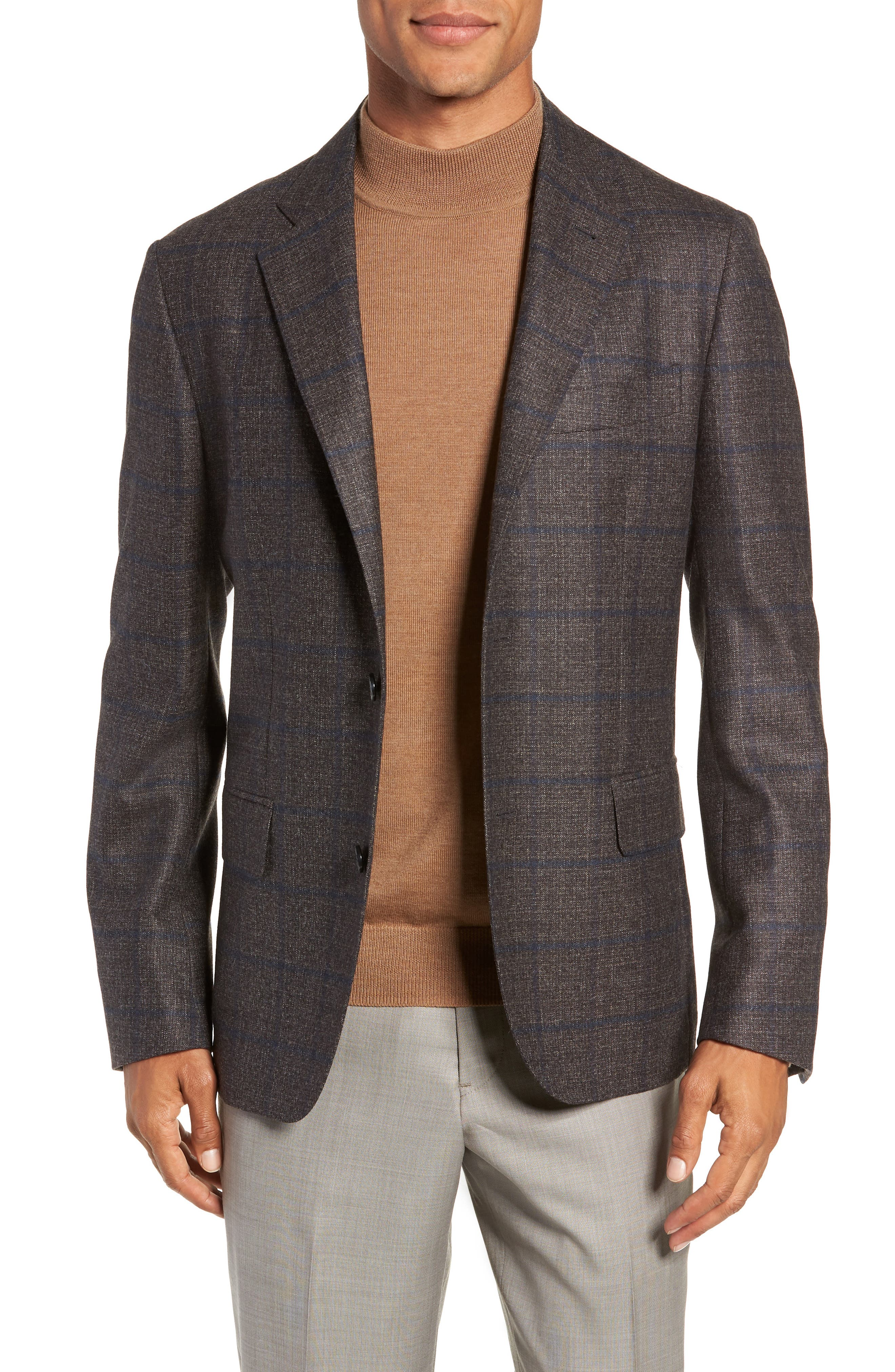 Trim Fit Windowpane Wool Sport Coat,                         Main,                         color, DARK TAUPE