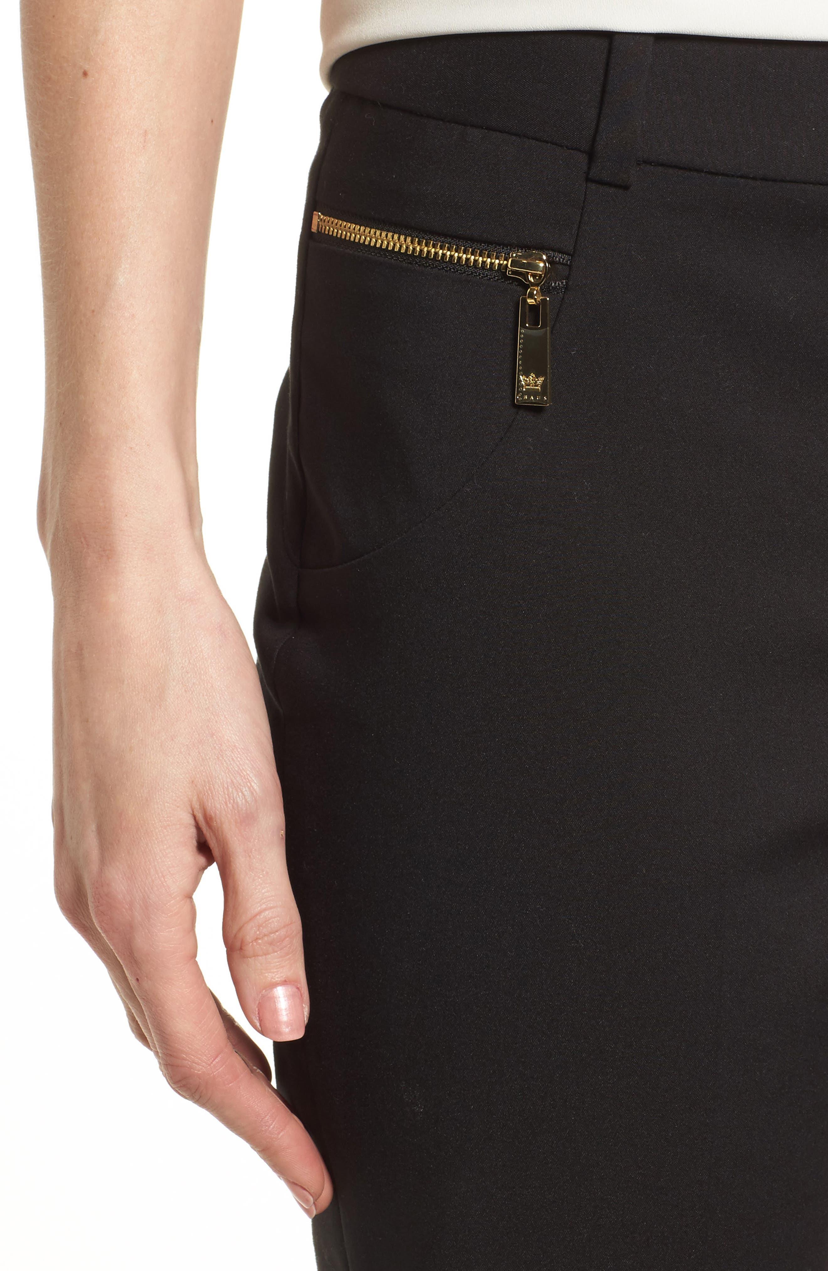 Dena Zip Pocket Ankle Pants,                             Alternate thumbnail 4, color,                             001