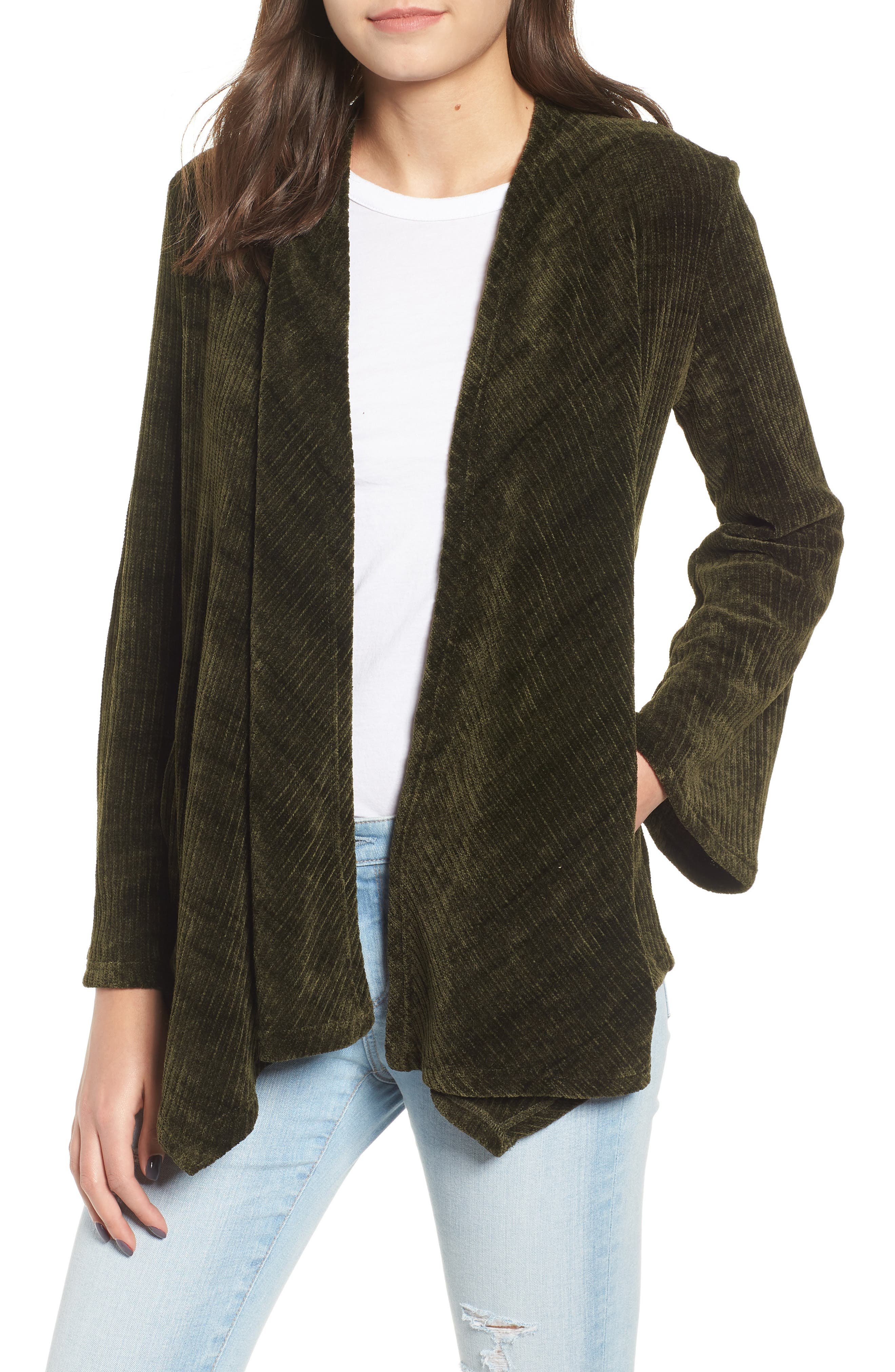 Chenille of Fortune Jacket,                         Main,                         color, DARK GREEN