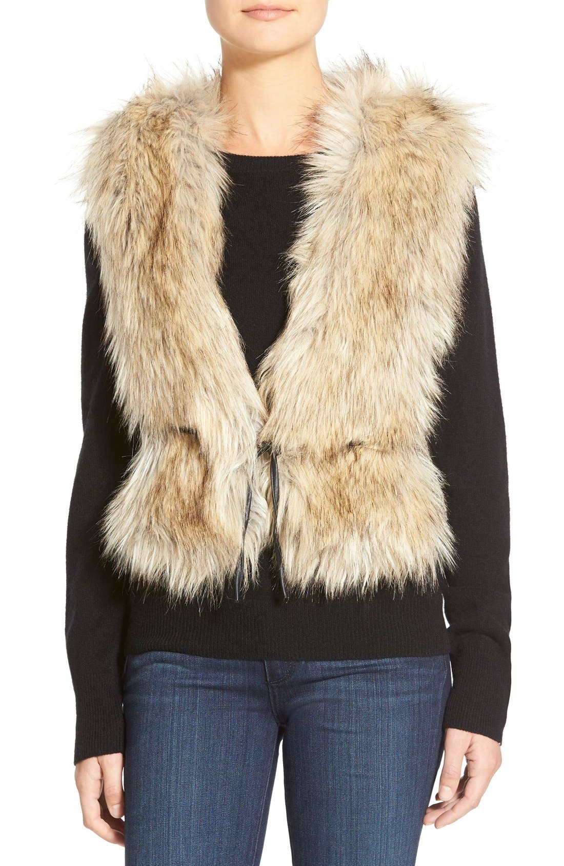 Tweed & Faux Fur Vest,                         Main,                         color, 200