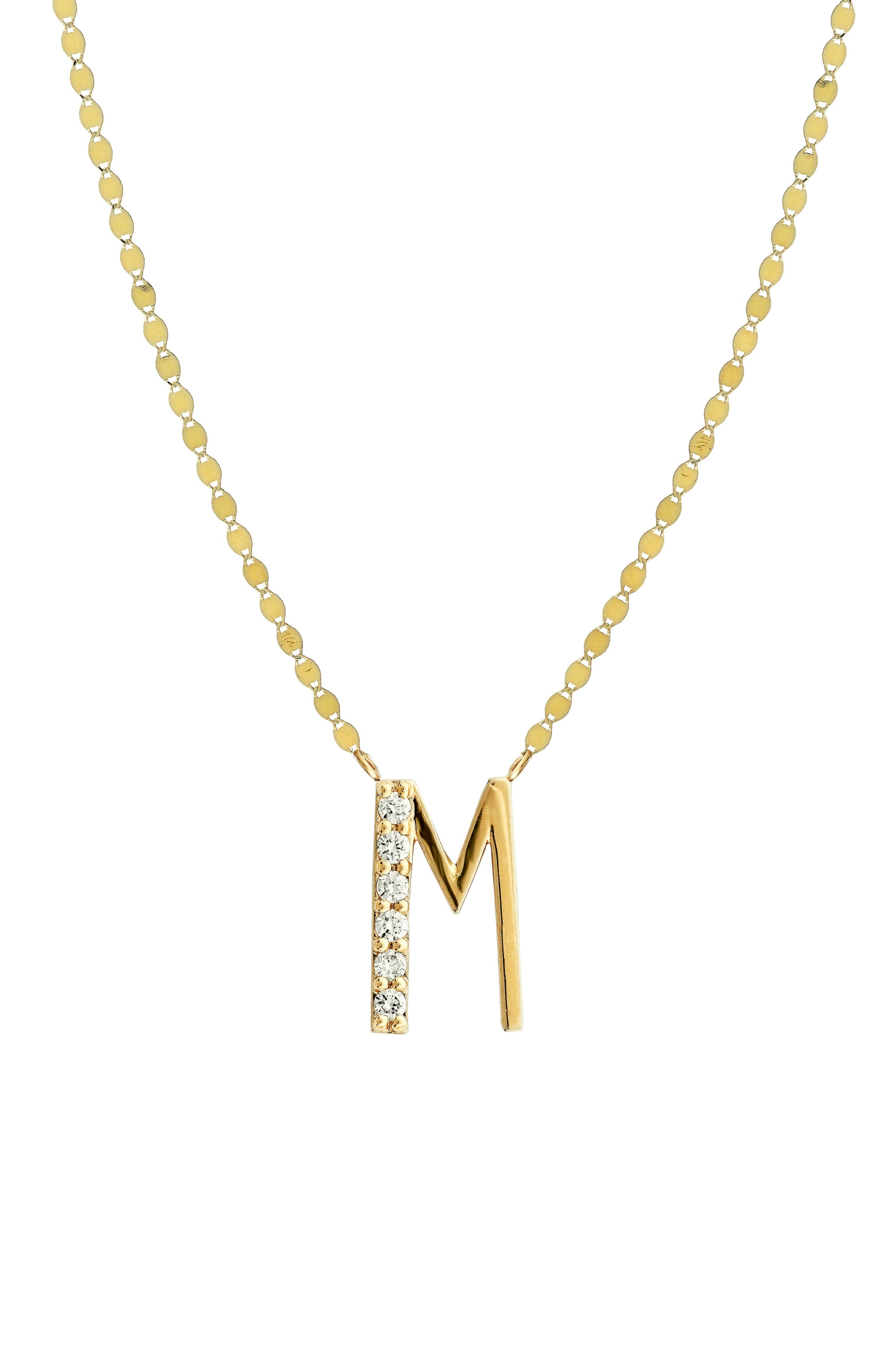 Initial Pendant Necklace,                         Main,                         color, YELLOW GOLD- M