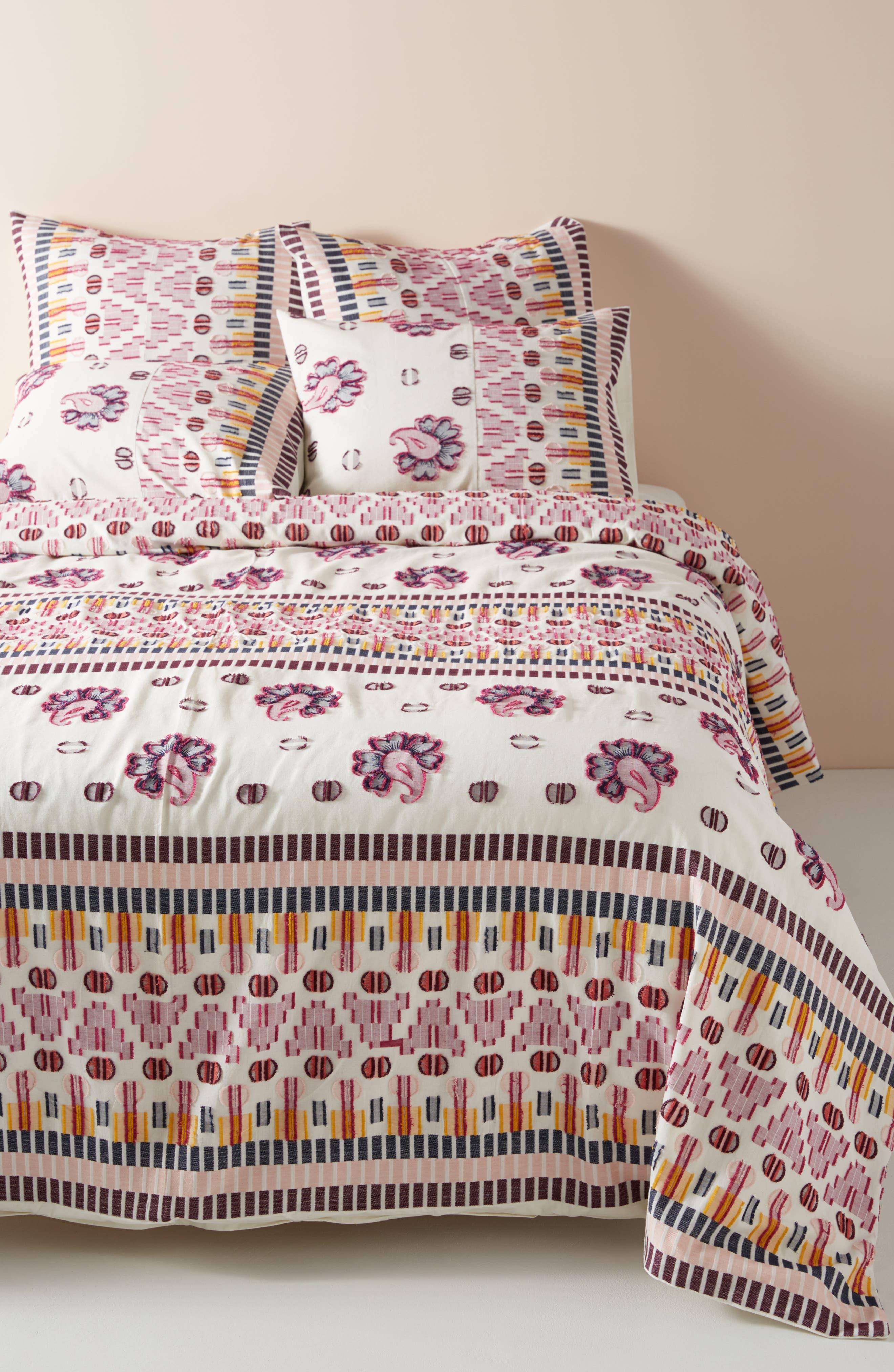 Suno Clipped Jacquard Duvet Cover,                         Main,                         color, PINK MULTI