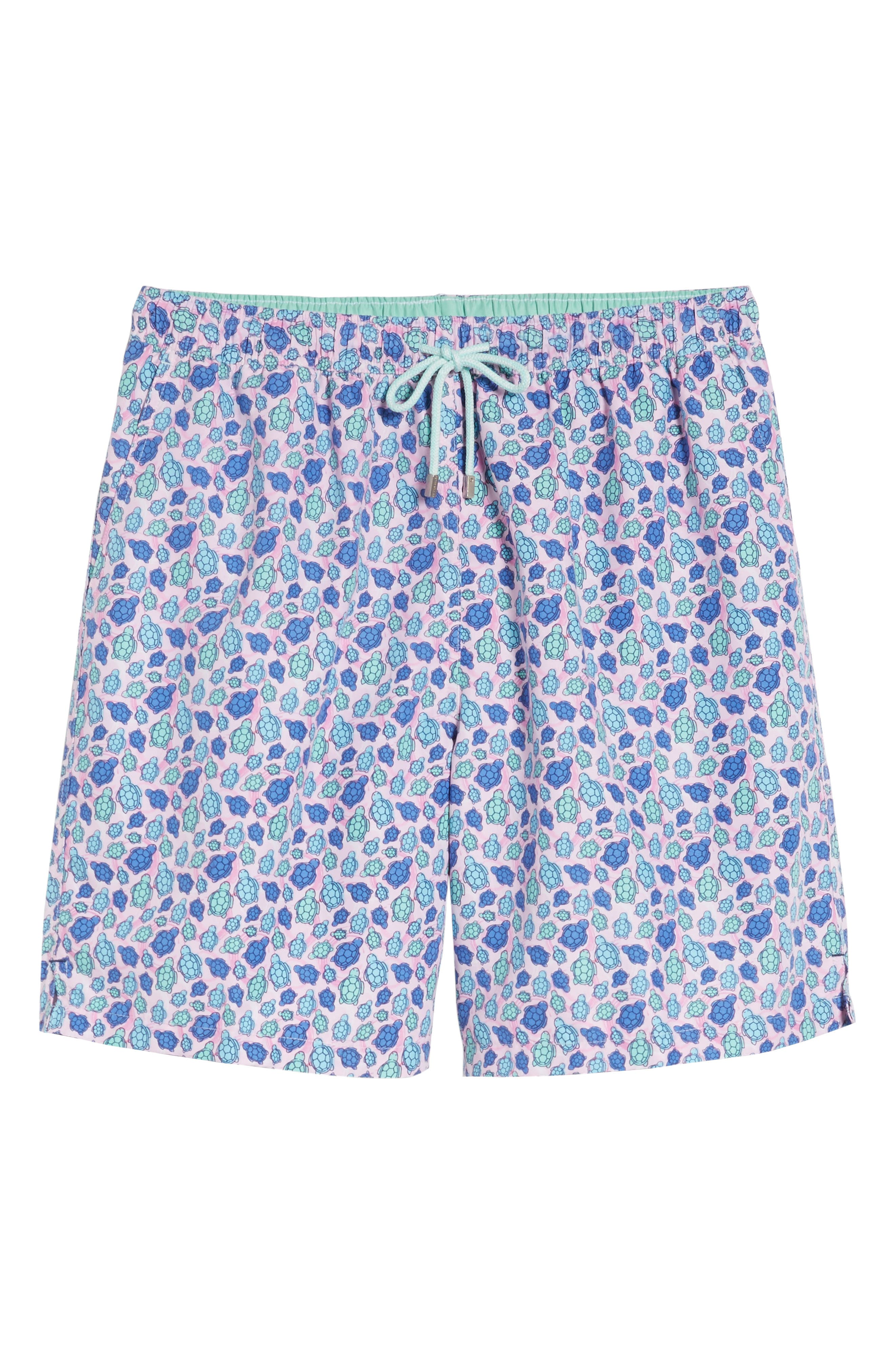Shelly Turtle Print Swim Shorts,                             Alternate thumbnail 6, color,
